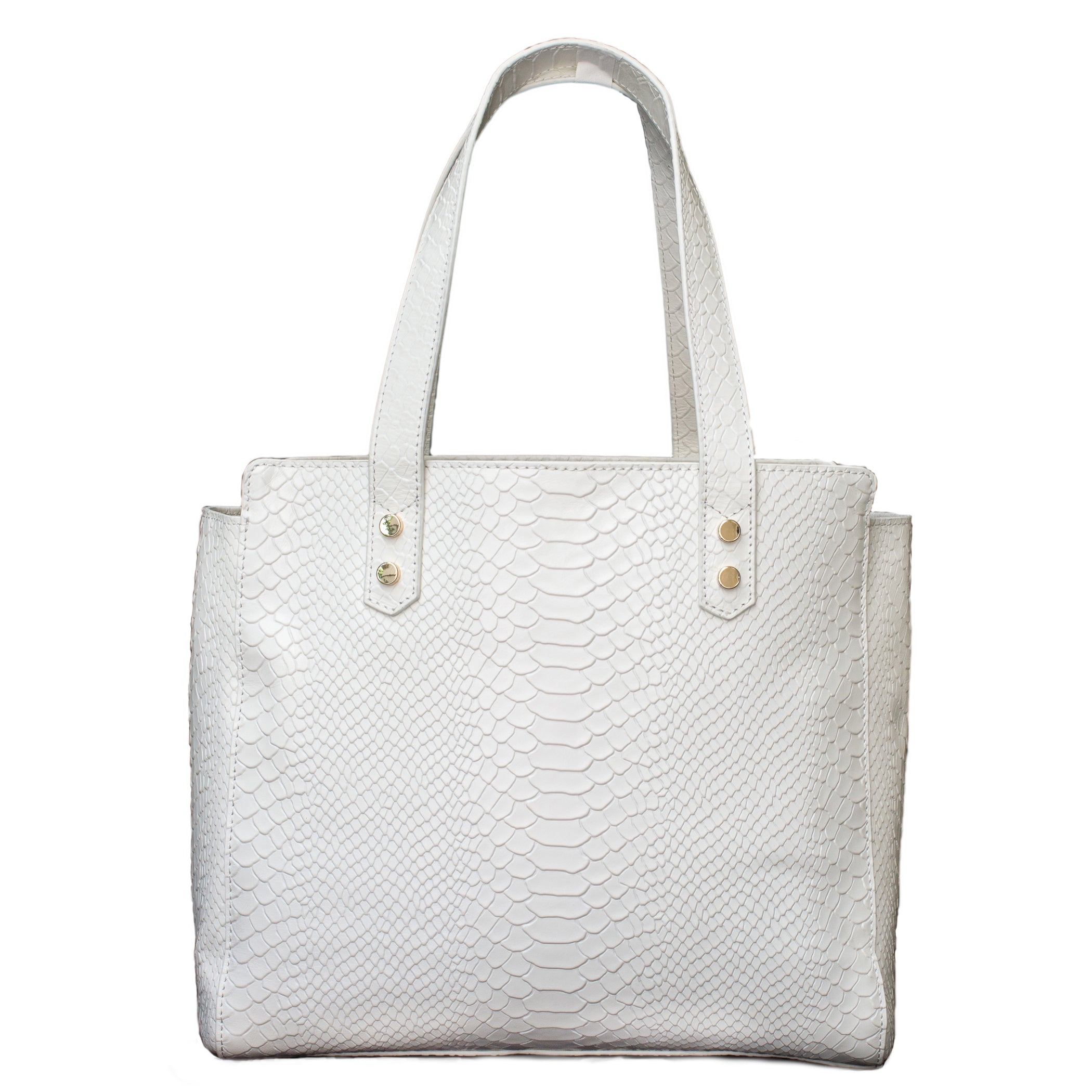 Python Embossed Leather Tote in White - Elizabeth Ackerman New York