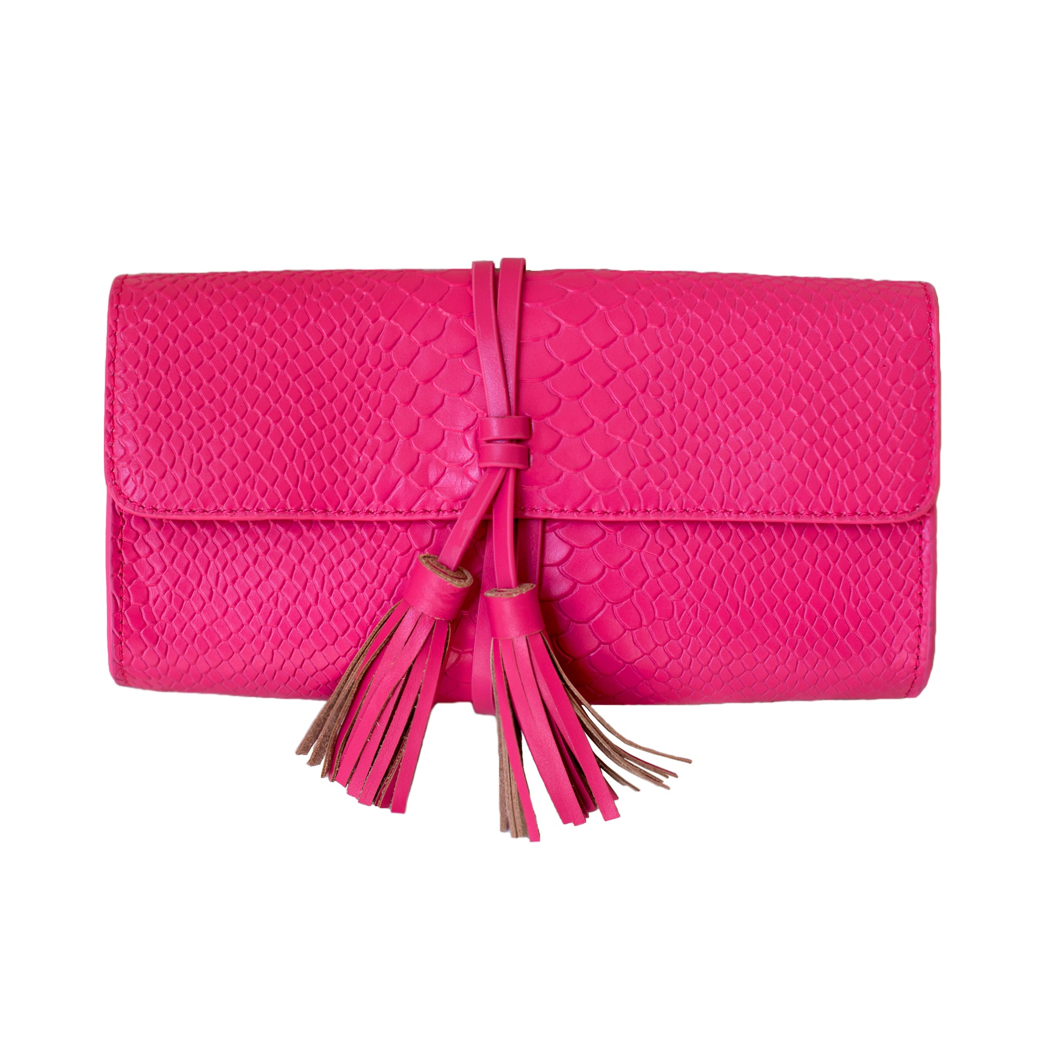Pink Python Leather Tassel Clutch - Elizabeth Ackerman New York
