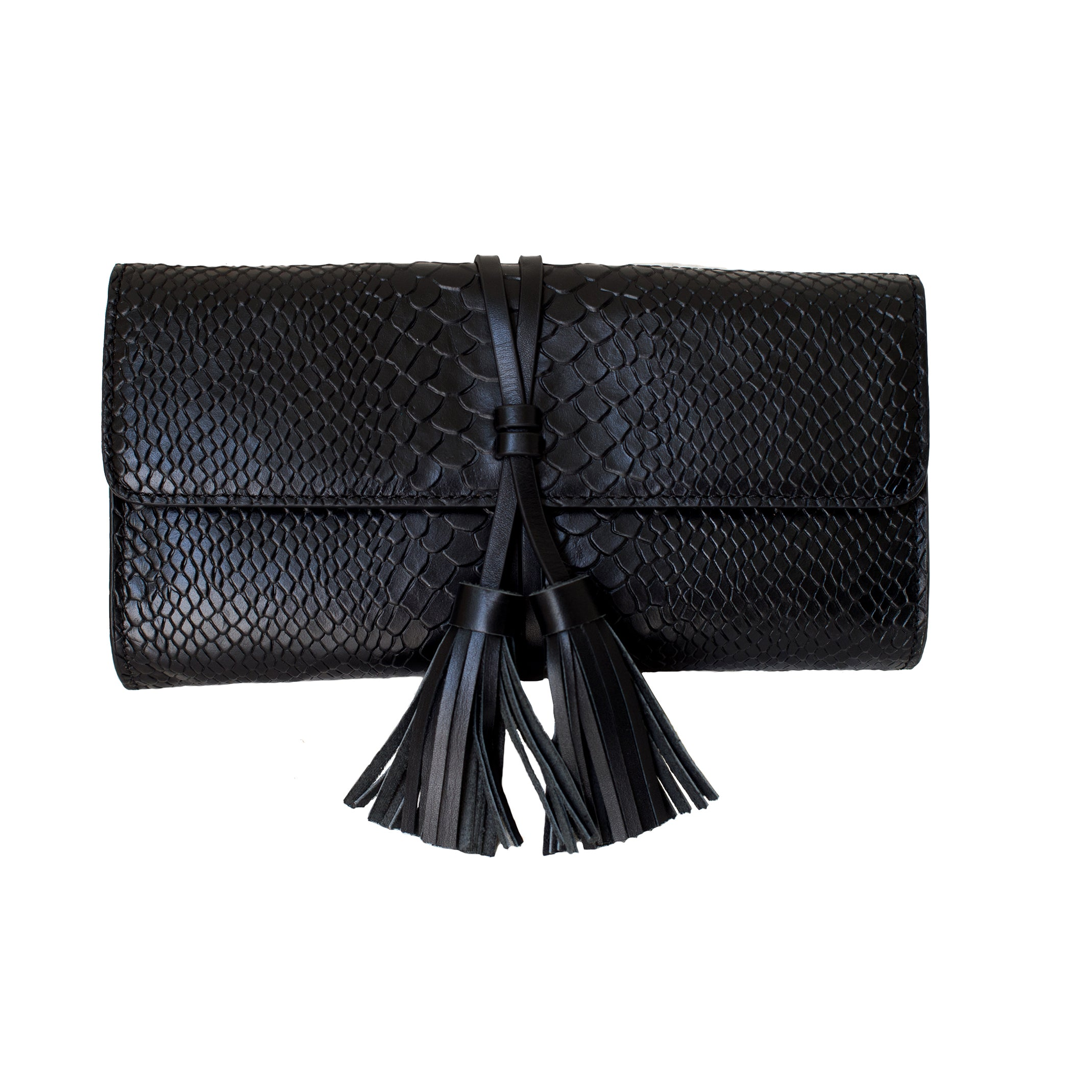 Black Python Leather Tassel Clutch - Elizabeth Ackerman New York