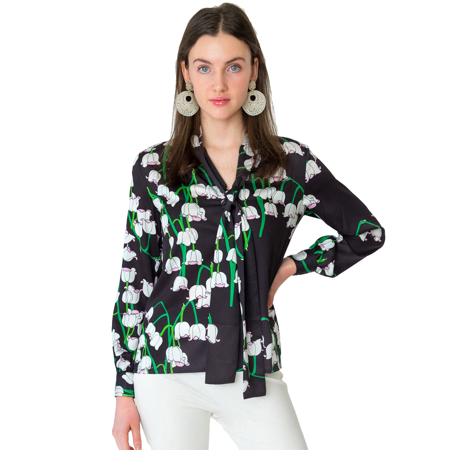 Frani Tie Neck Blouse in Big Lily - Elizabeth Ackerman New York