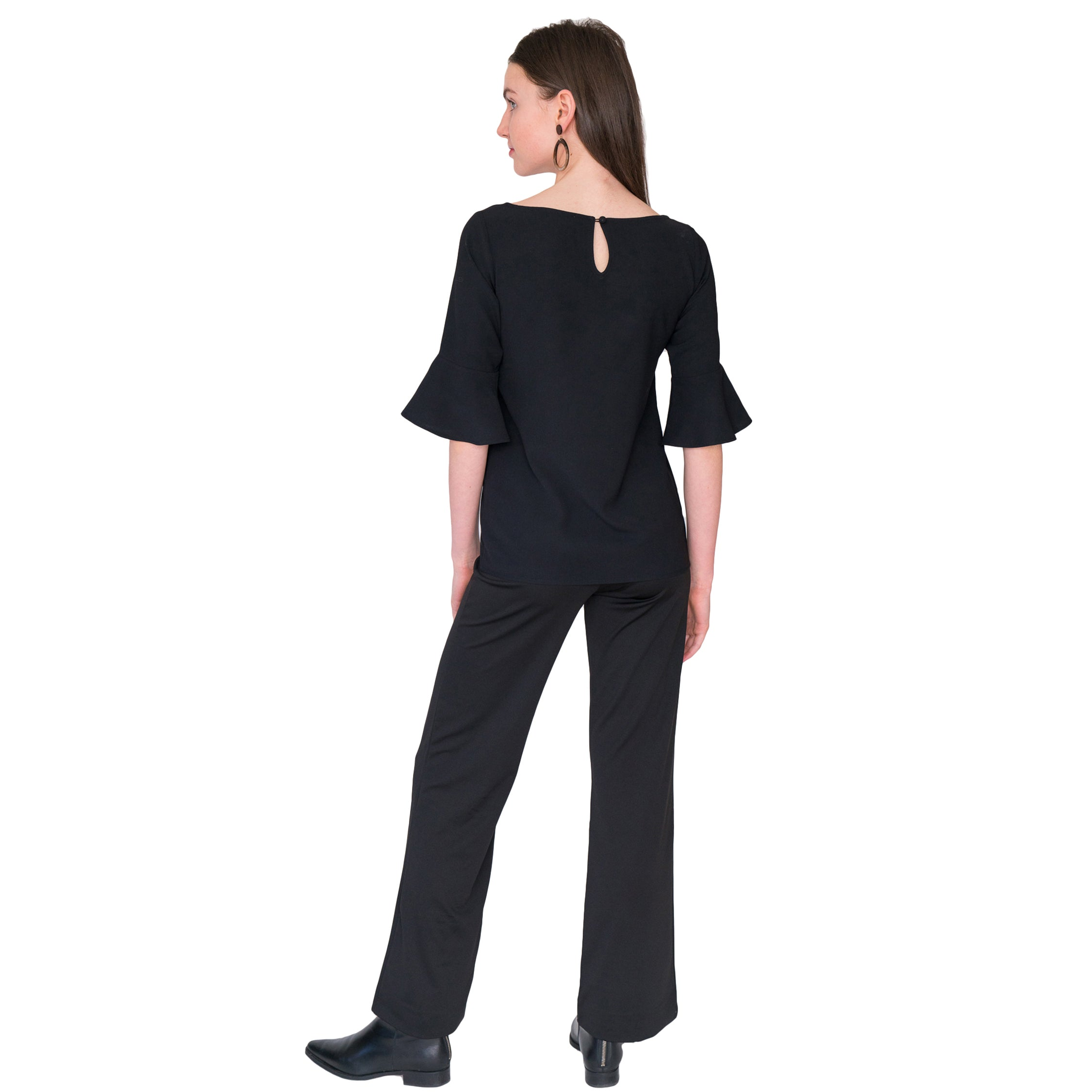 Toby Palazzo Pant in Solid Black - Elizabeth Ackerman New York