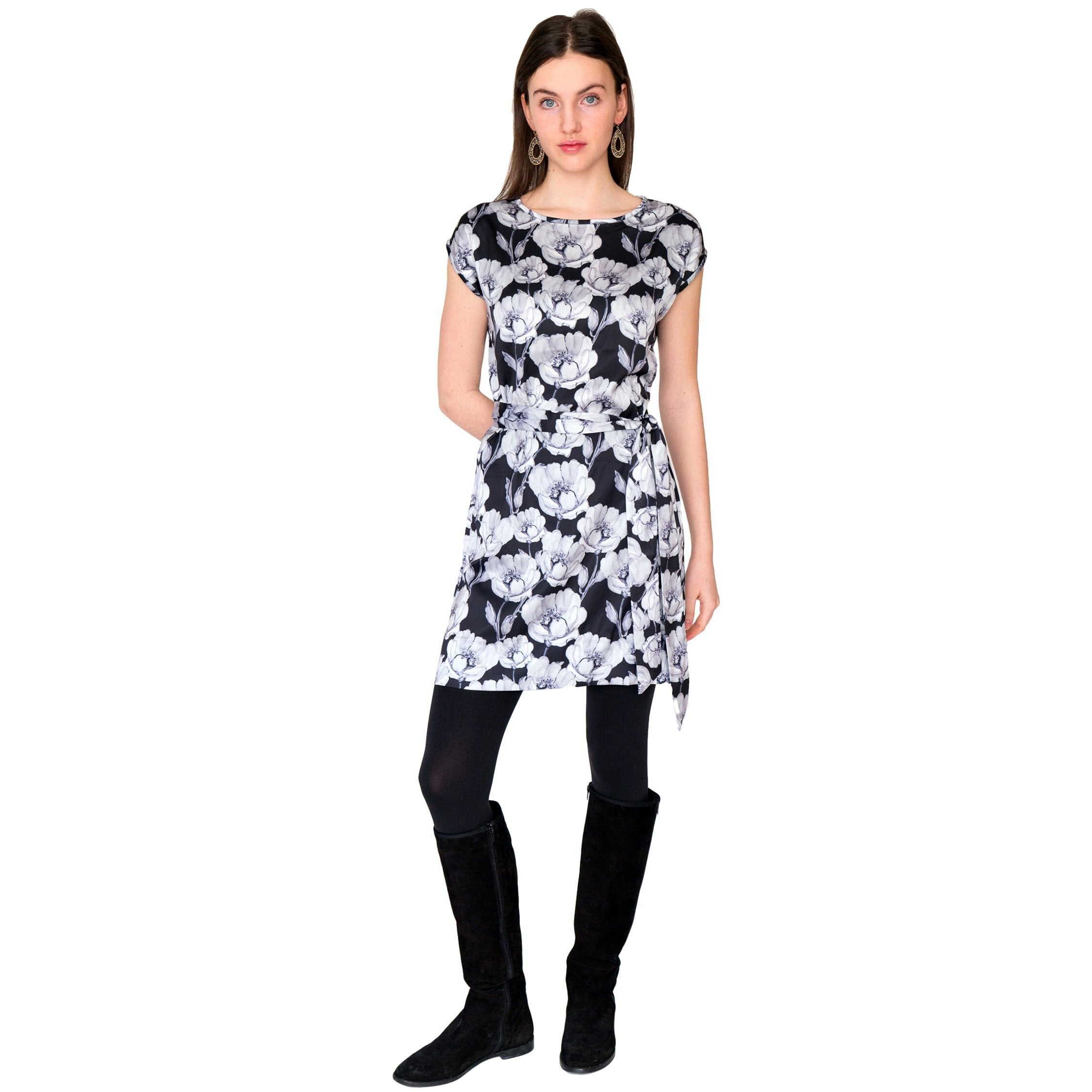 Avery Cap Sleeve Dress in Grey Floral - Elizabeth Ackerman New York