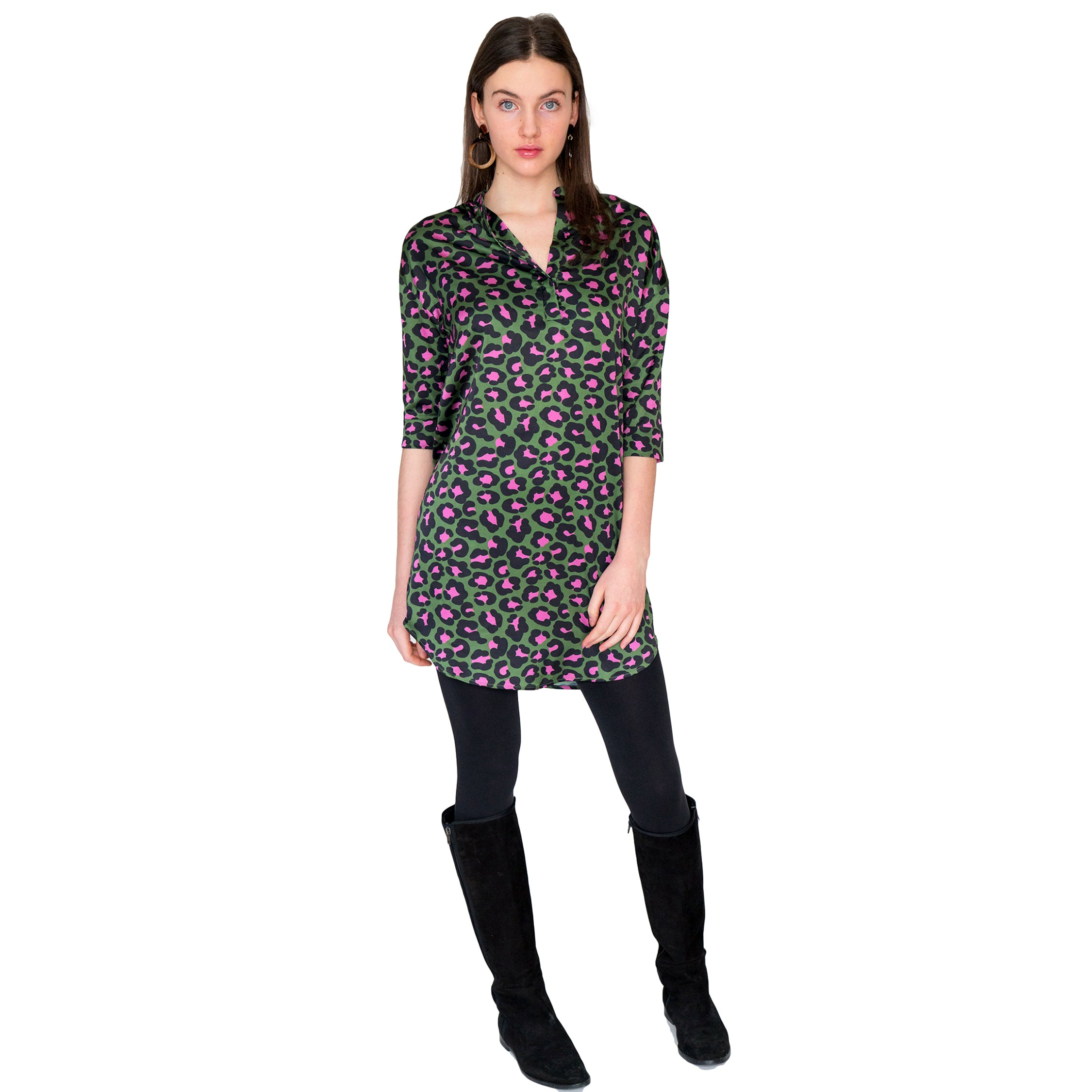 Heather Mandarin Collar Tunic in Olive Leopard - Elizabeth Ackerman New York