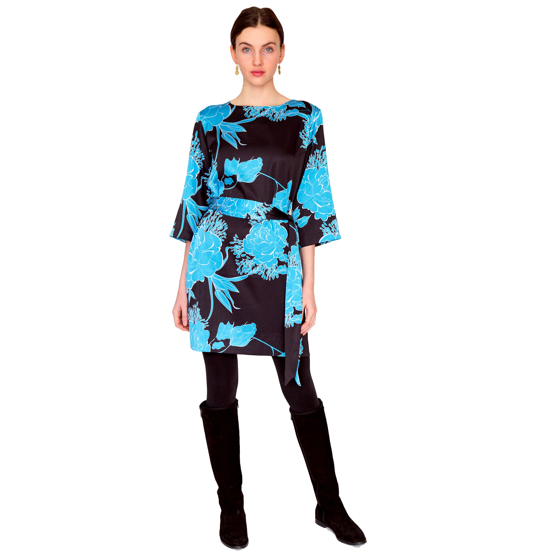 Jackie 3/4 Sleeve Dress in Roses are Blue - Elizabeth Ackerman New York