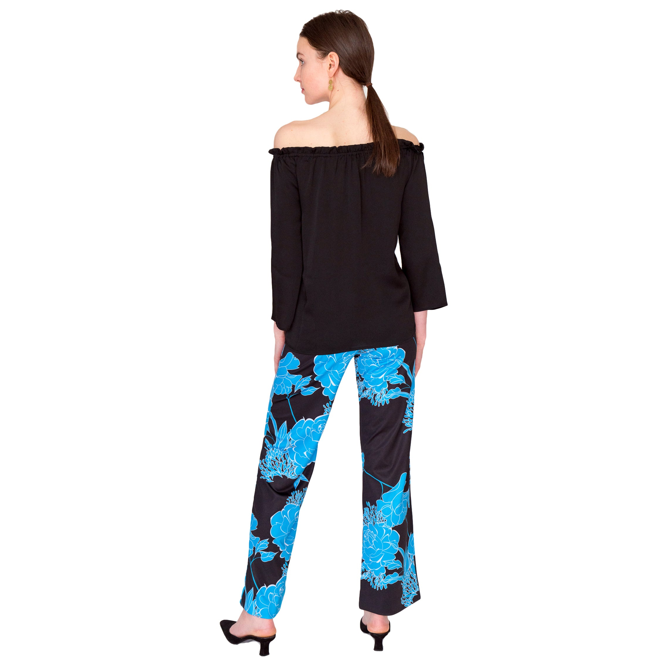 Toby Palazzo Pant in Roses Are Blue - Elizabeth Ackerman New York