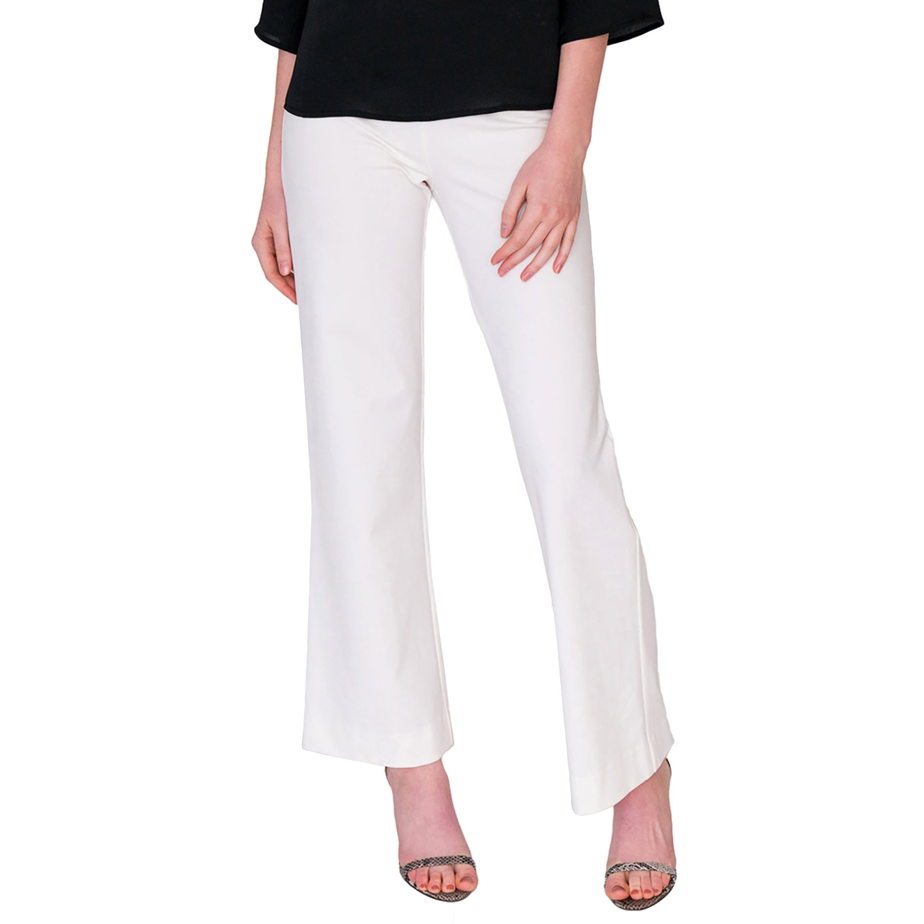 Toby Palazzo Pant in Solid White - Elizabeth Ackerman New York
