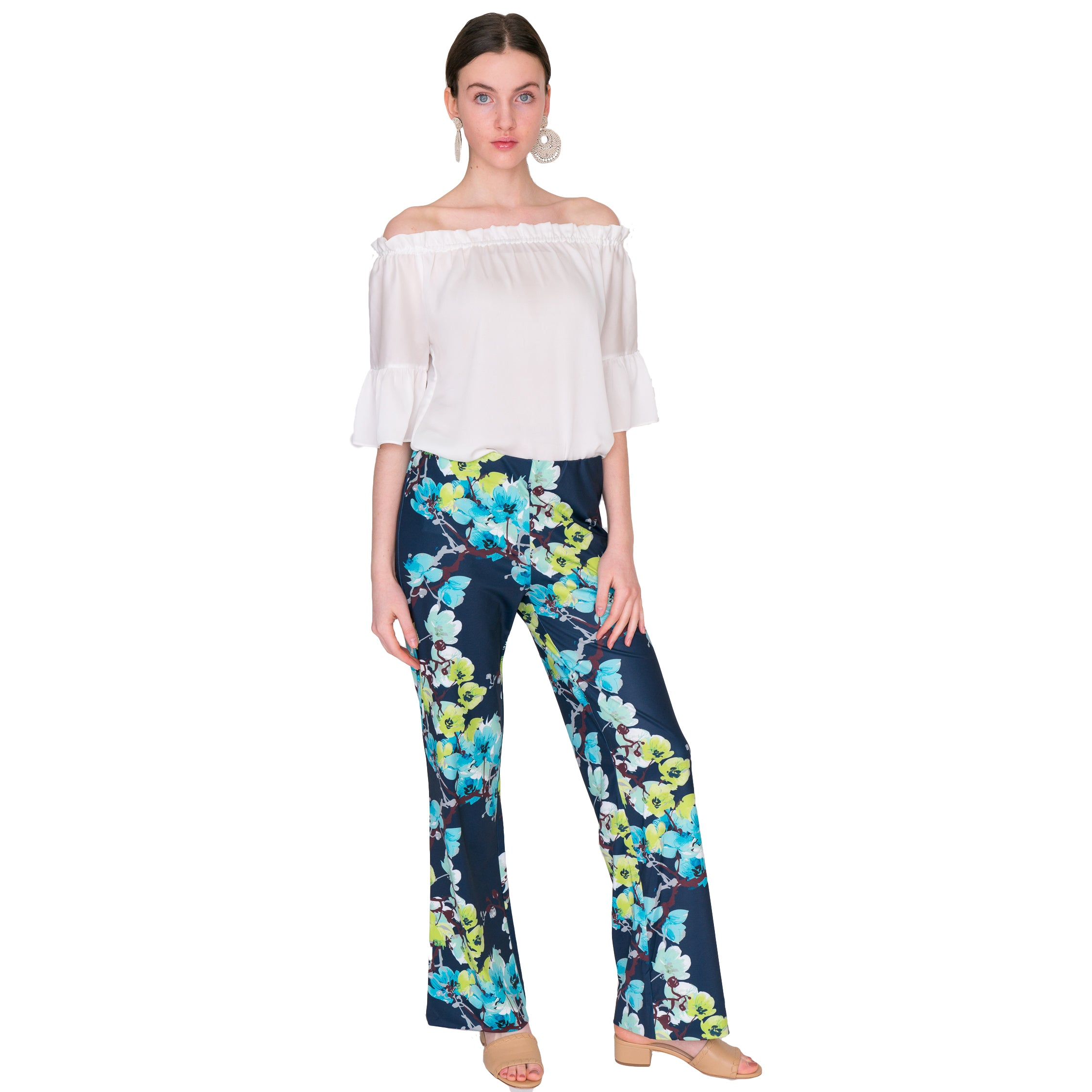 Toby Palazzo Pant in Navy Branch Floral - Elizabeth Ackerman New York