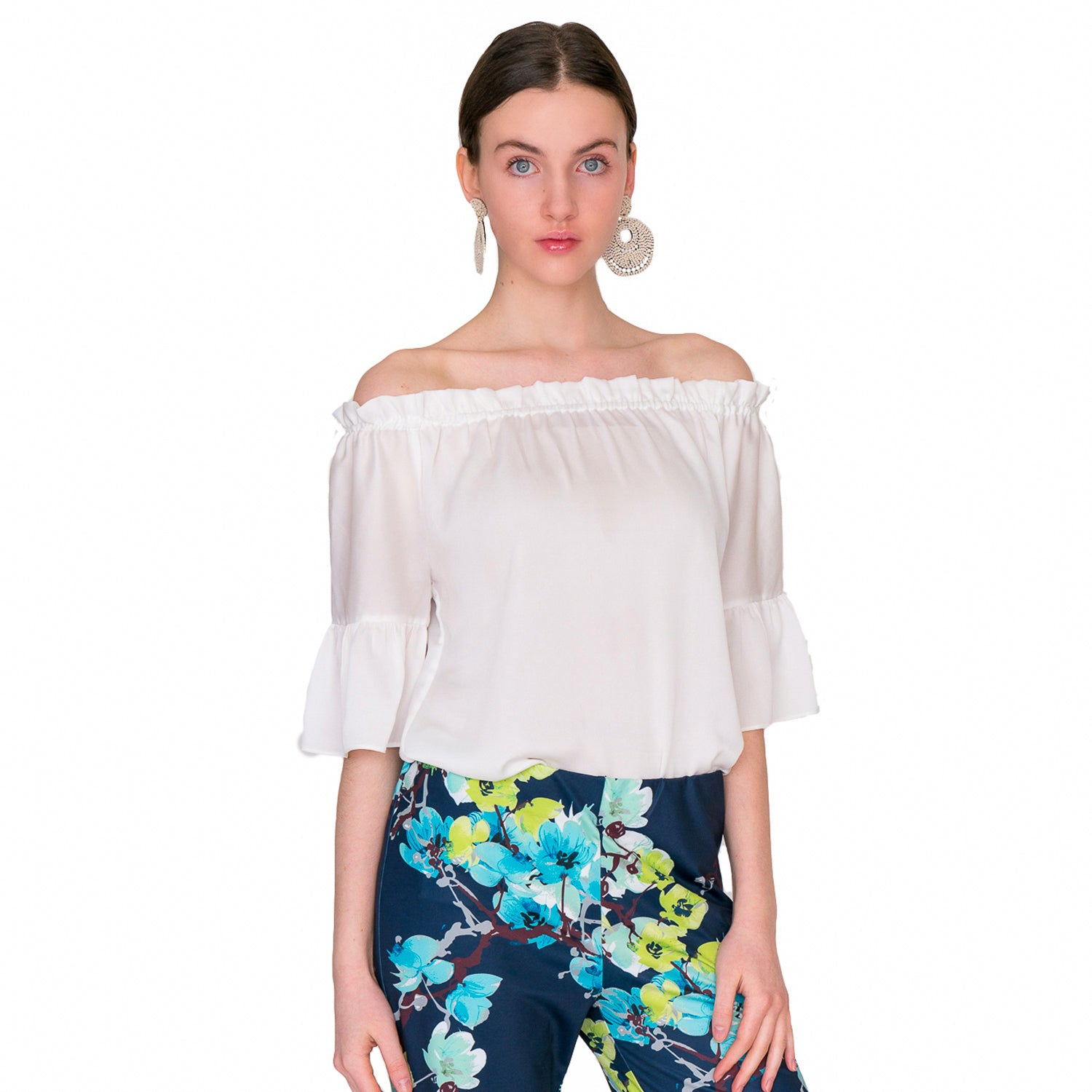Mae On/Off Shoulder Ruffle Sleeve  Blouse in White - Elizabeth Ackerman New York