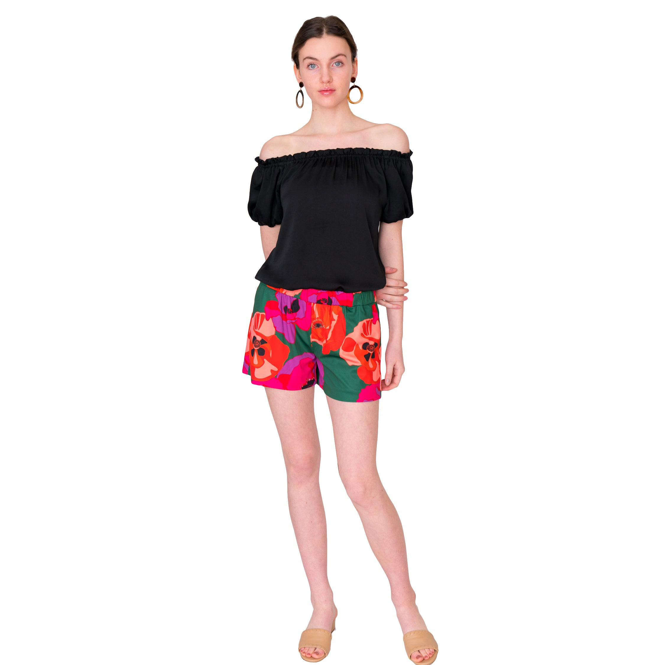Libby Shorts in Green Poppy - Elizabeth Ackerman New York