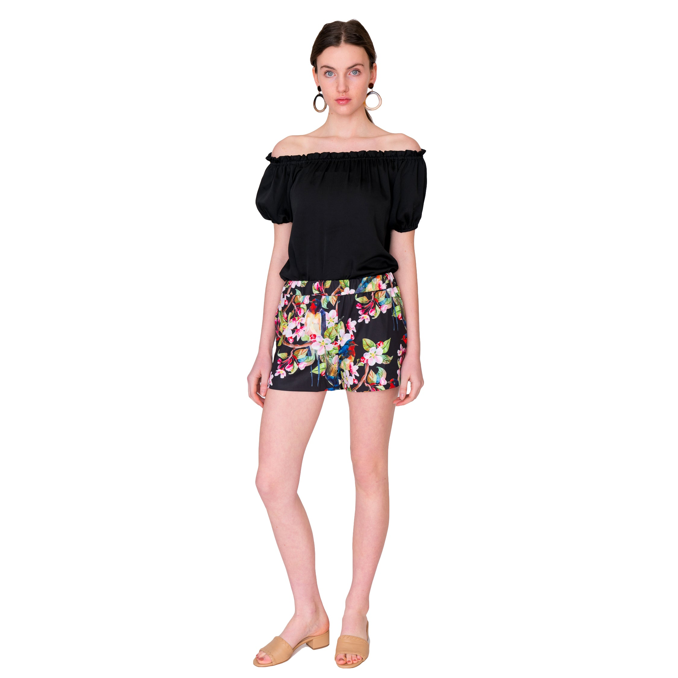 Libby Shorts in Bird Garden Floral - Elizabeth Ackerman New York