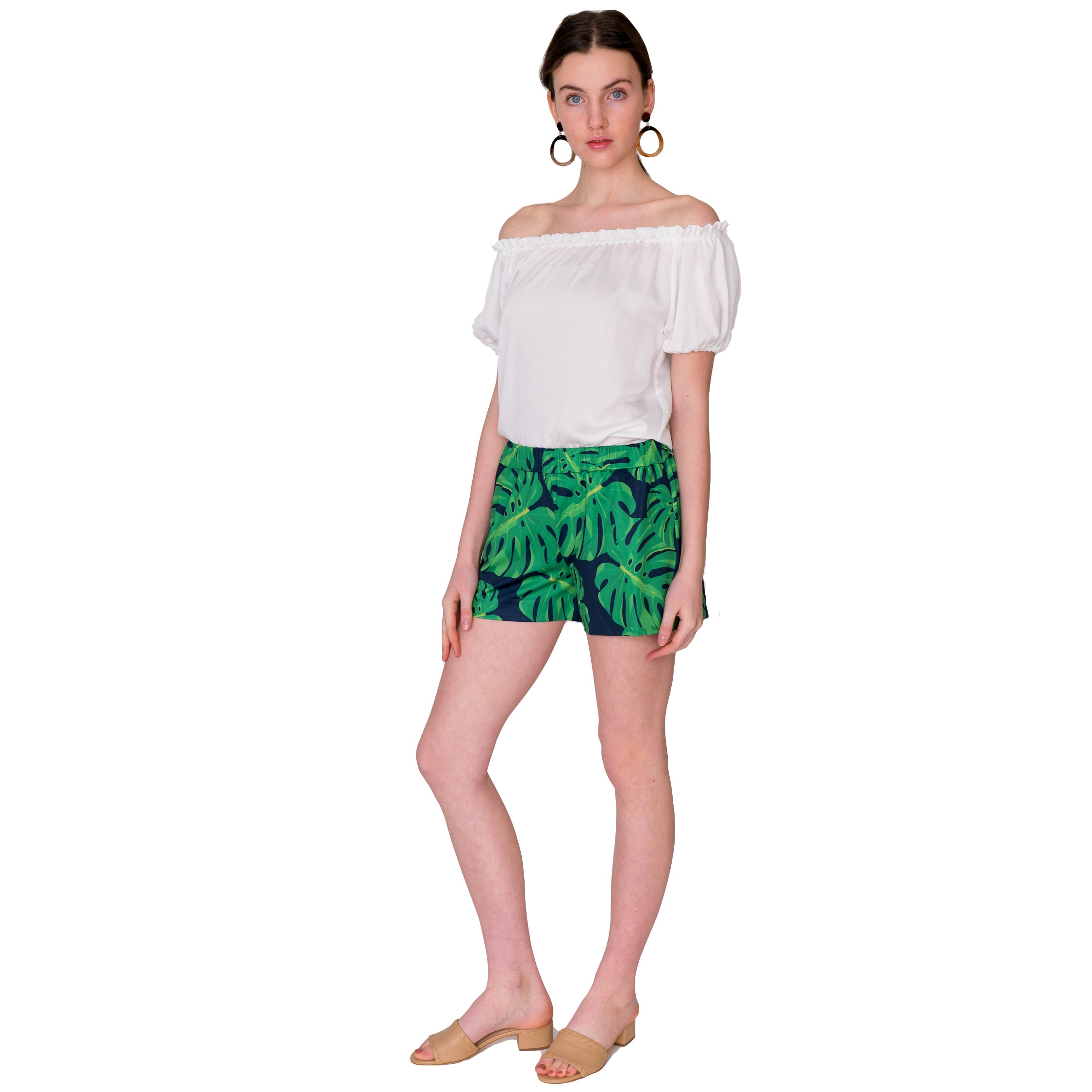 Libby Pull On Shorts in Navy and Green Palm Print - Elizabeth Ackerman New York