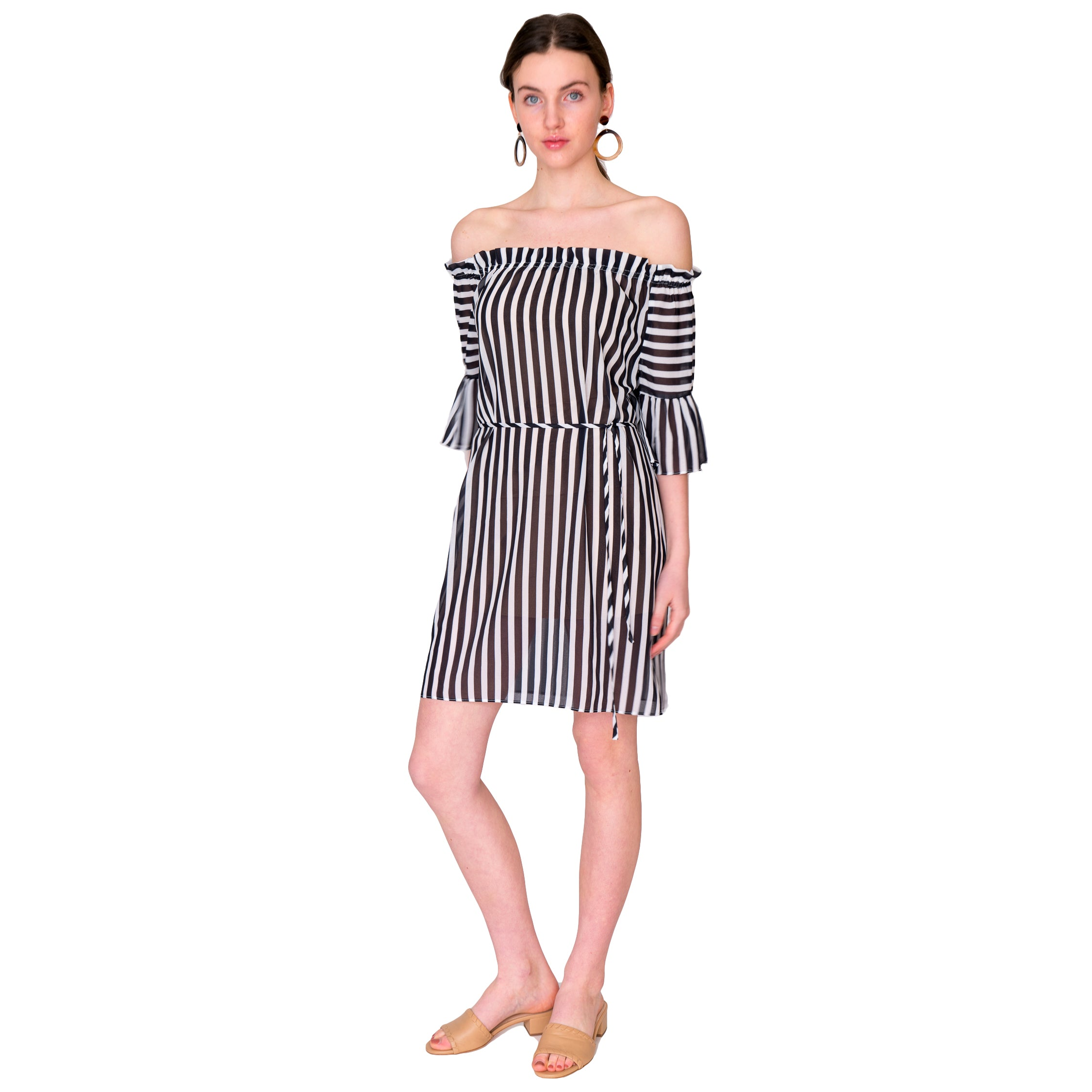 Mae On/Off Shoulder Dress in Black and White Stripe - Elizabeth Ackerman New York