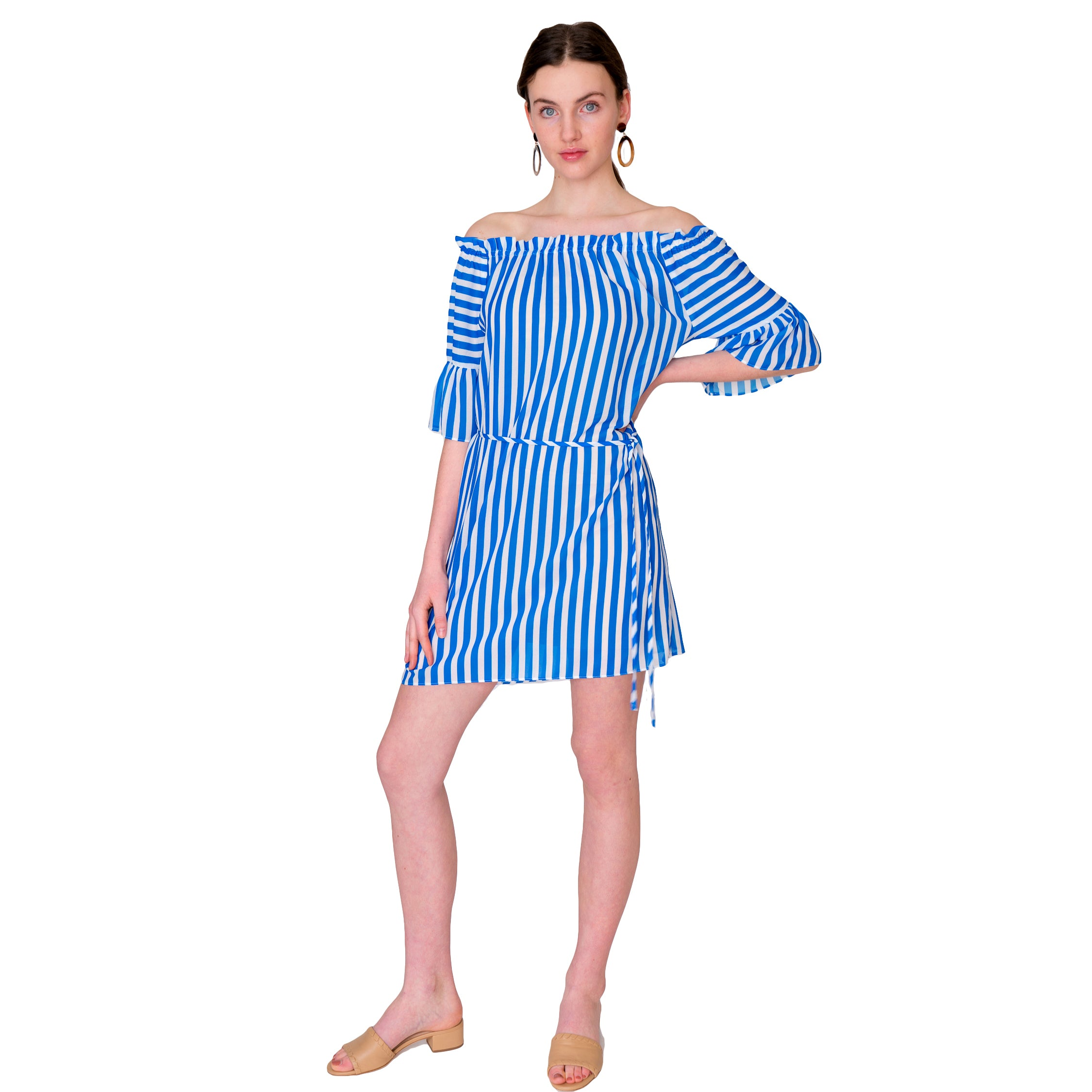 Mae On Off Shoulder Ruffle Sleeve Dress in Blue Stripe - Elizabeth Ackerman New York