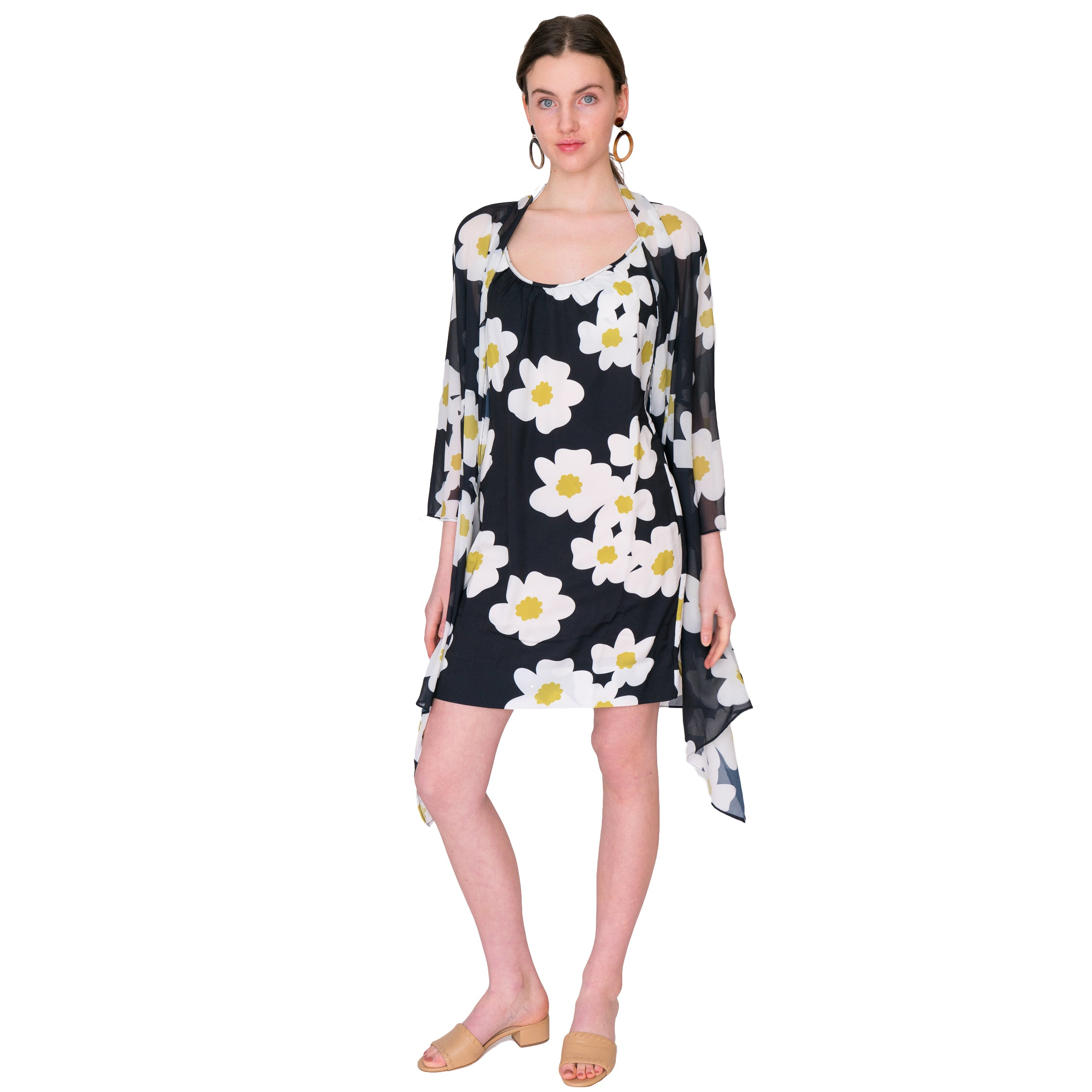 Jill Camisole Tank Dress in Mod Floral - Elizabeth Ackerman New York