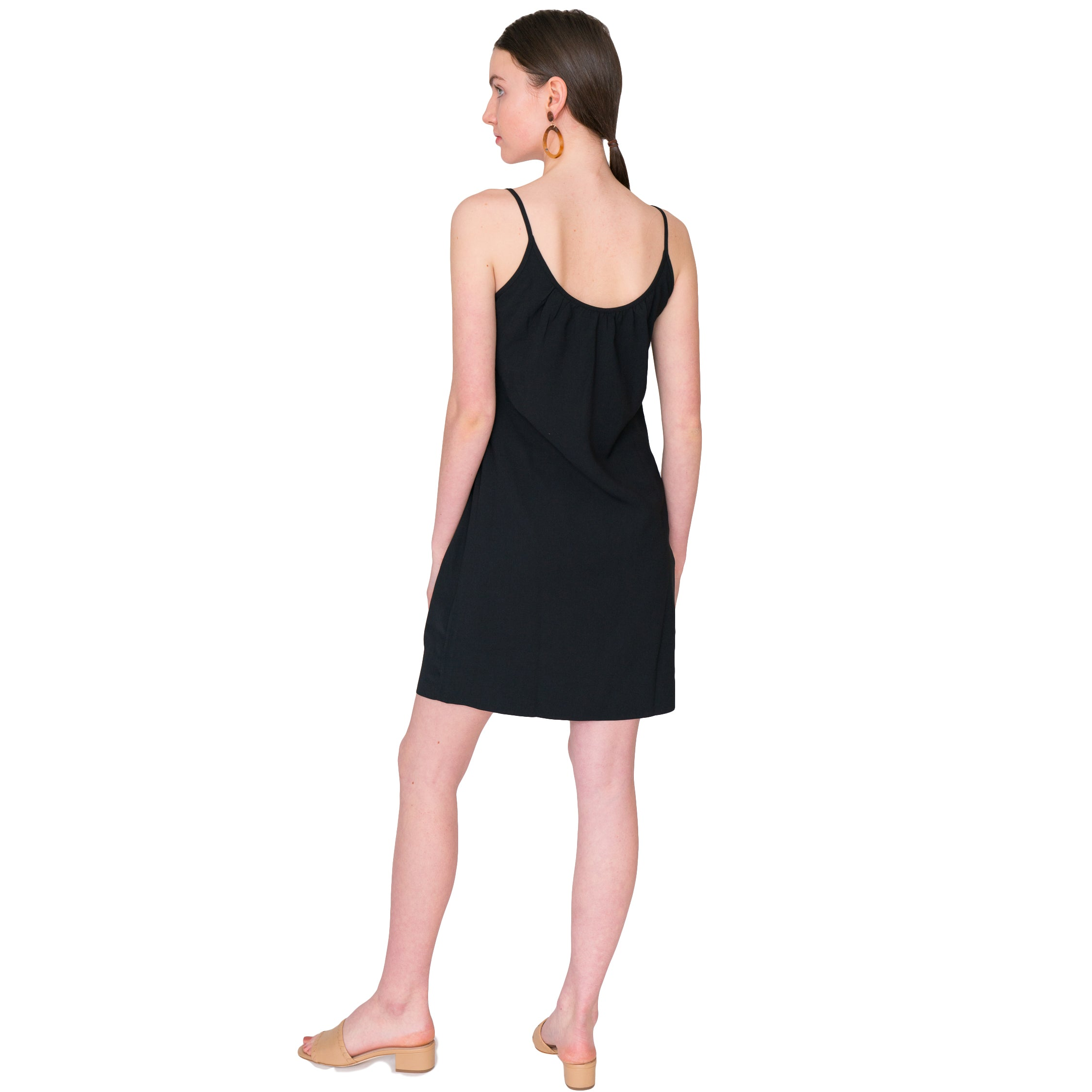 Jill  Stretch Twill Camisole Dress in Black or Navy - Elizabeth Ackerman New York