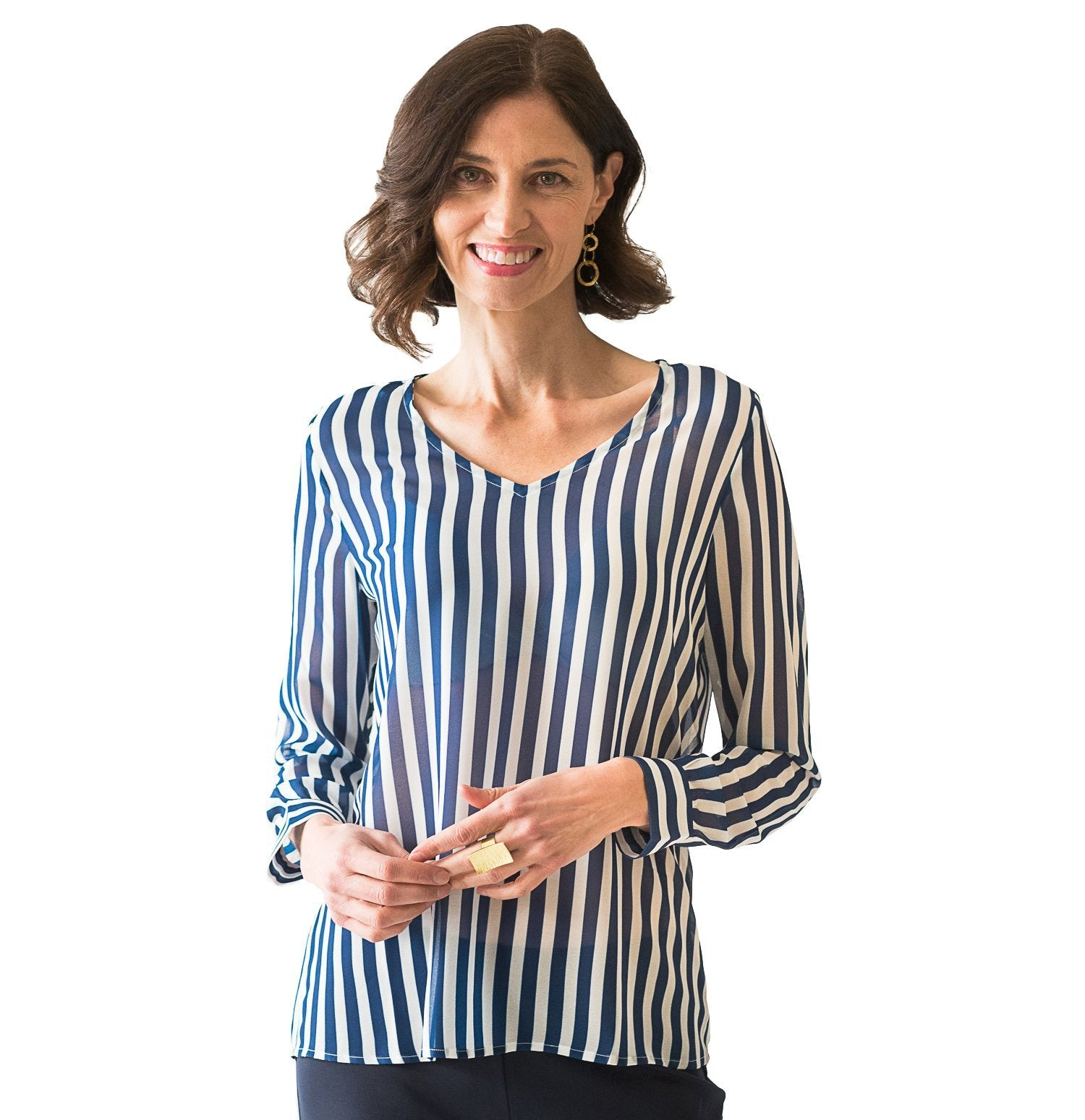 Haynes V-Neck Blouse in Navy Stripe - Elizabeth Ackerman New York