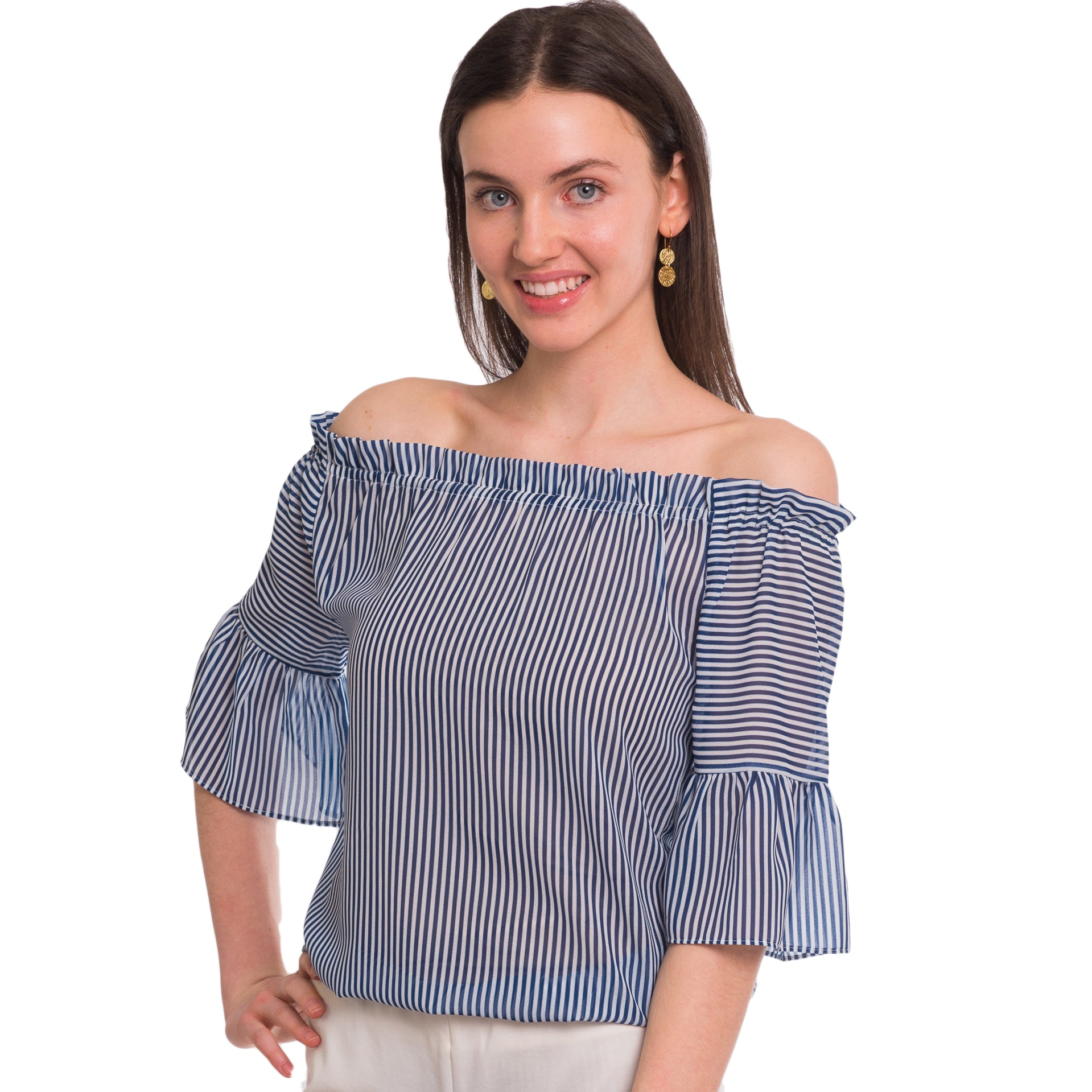 Mae On Off Shoulder Ruffle Sleeve Blouse in Skinny Blue Stripe - Elizabeth Ackerman New York