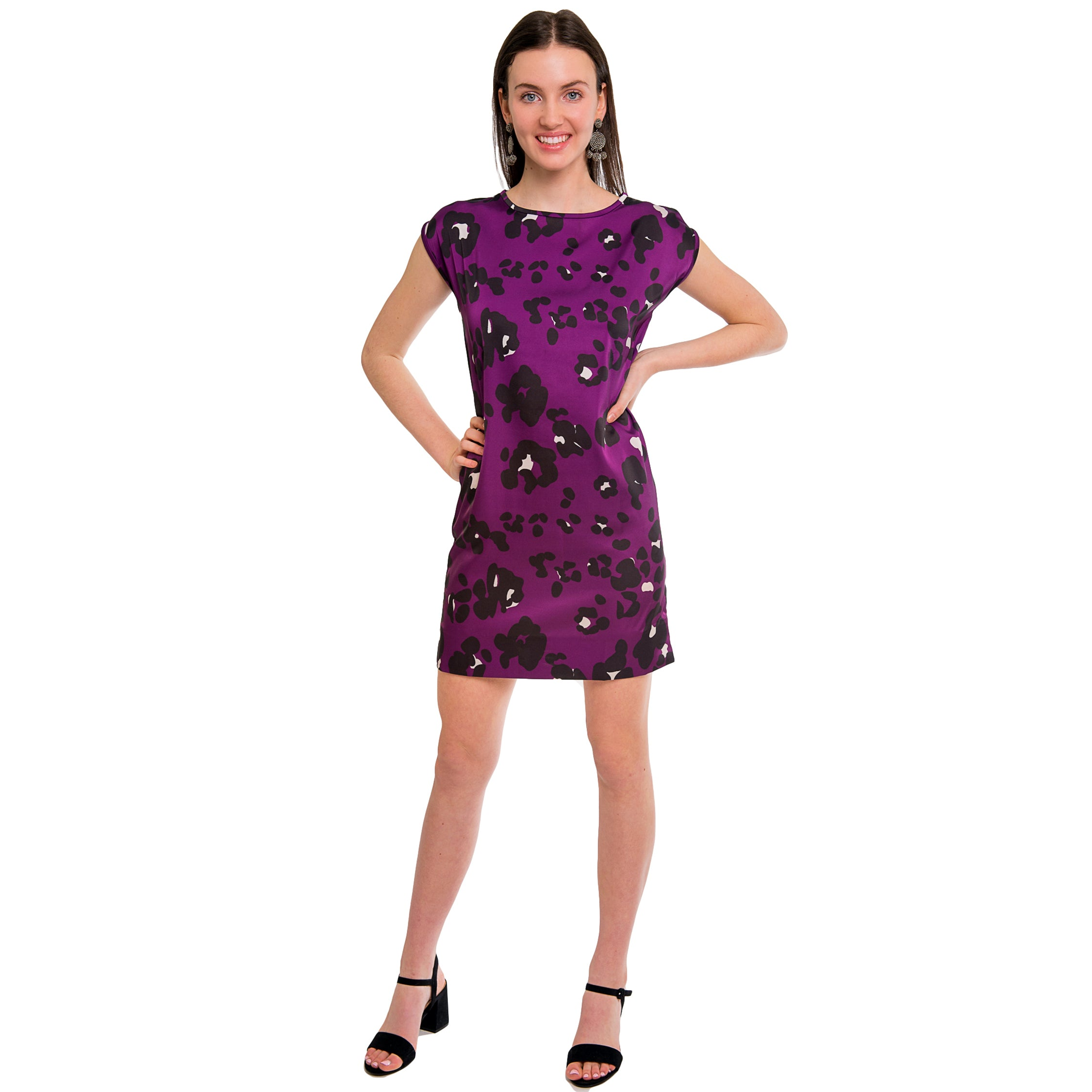 Avery Cap Sleeve Dress in Purple Spot - Elizabeth Ackerman New York