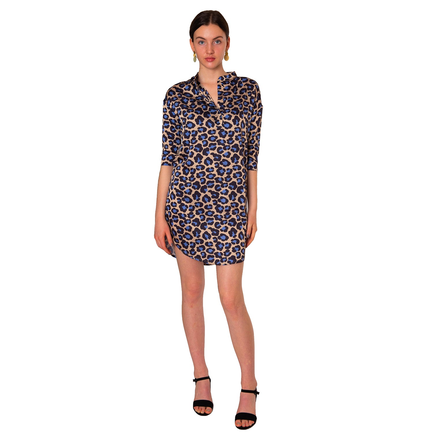Heather Mandarin Collar Dress in Tan Leopard - Elizabeth Ackerman New York