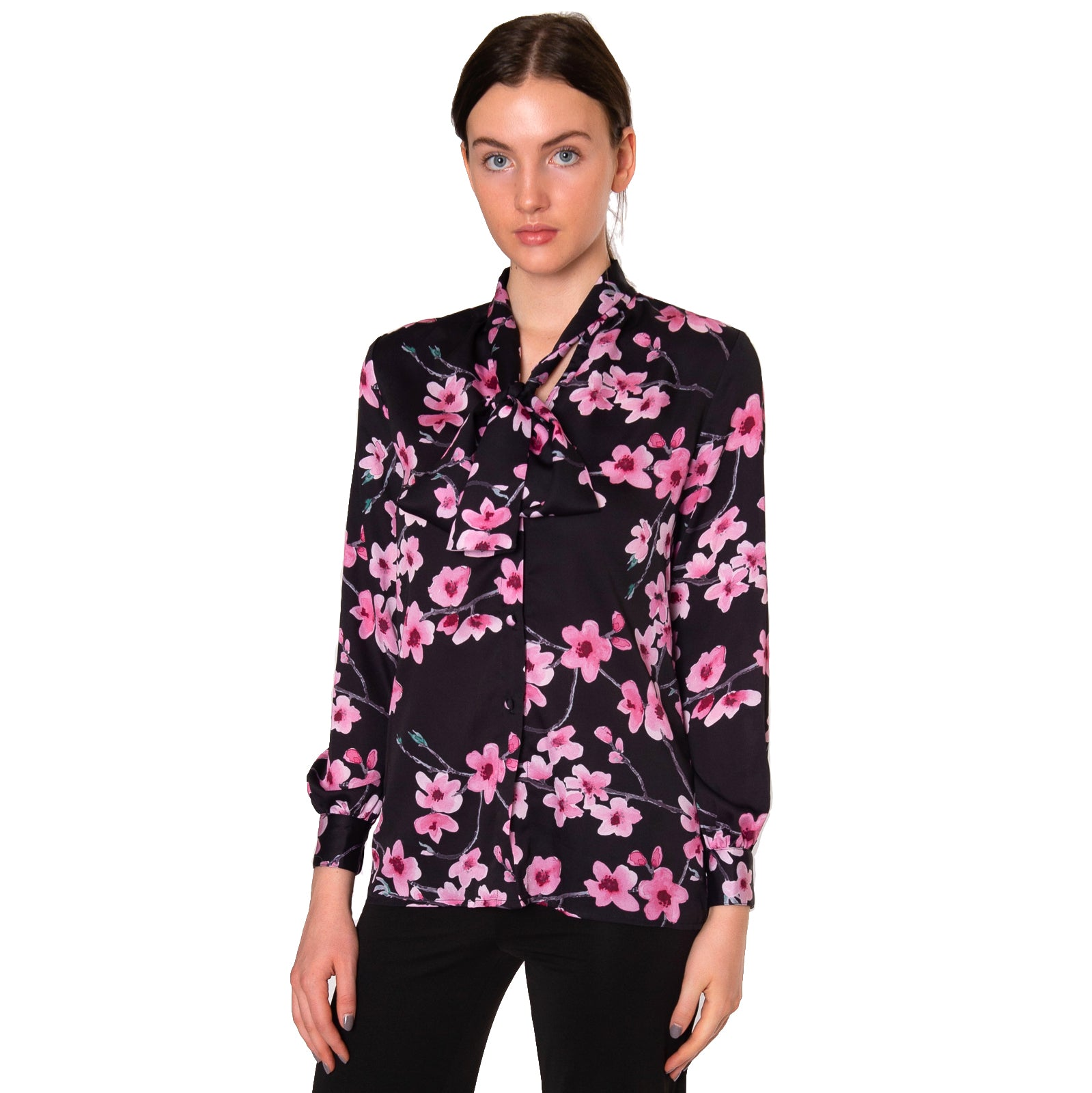 Frani Tie Neck Blouse in Pink Cherry Blossom - Elizabeth Ackerman New York