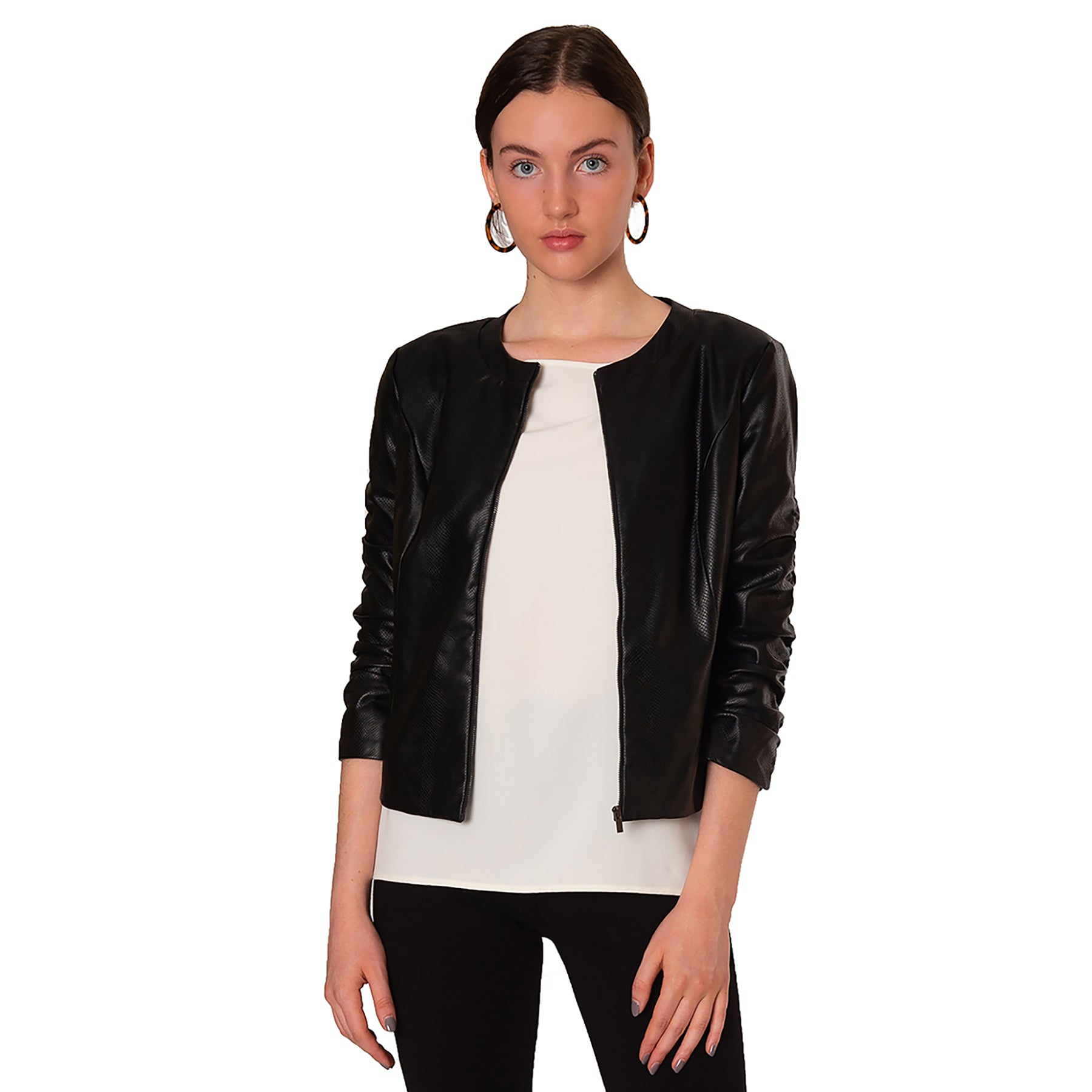 Raines 3/4 Sleeve Faux Leather Jacket - Elizabeth Ackerman New York