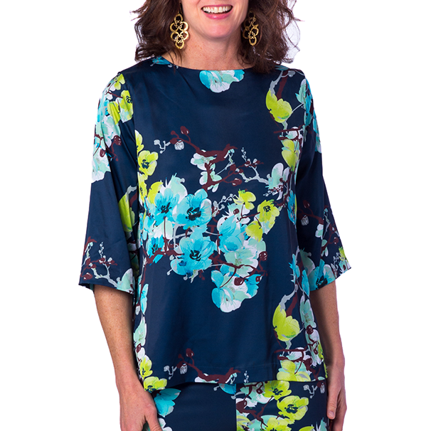 Jackie 3/4 Sleeve Blouse in Navy Branch Floral - Elizabeth Ackerman New York