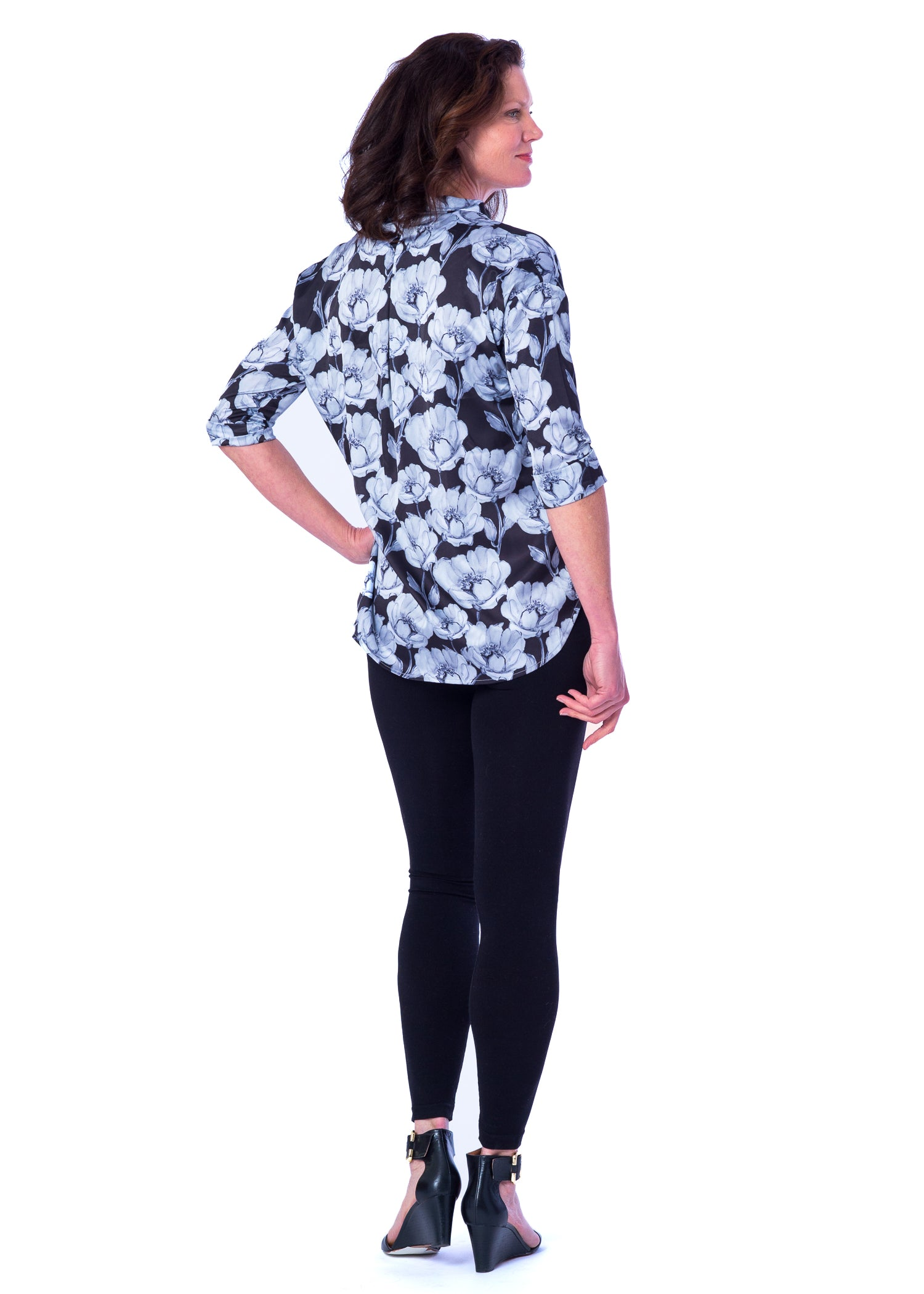 Heather Mandarin Collar Blouse in Grey Floral - Elizabeth Ackerman New York