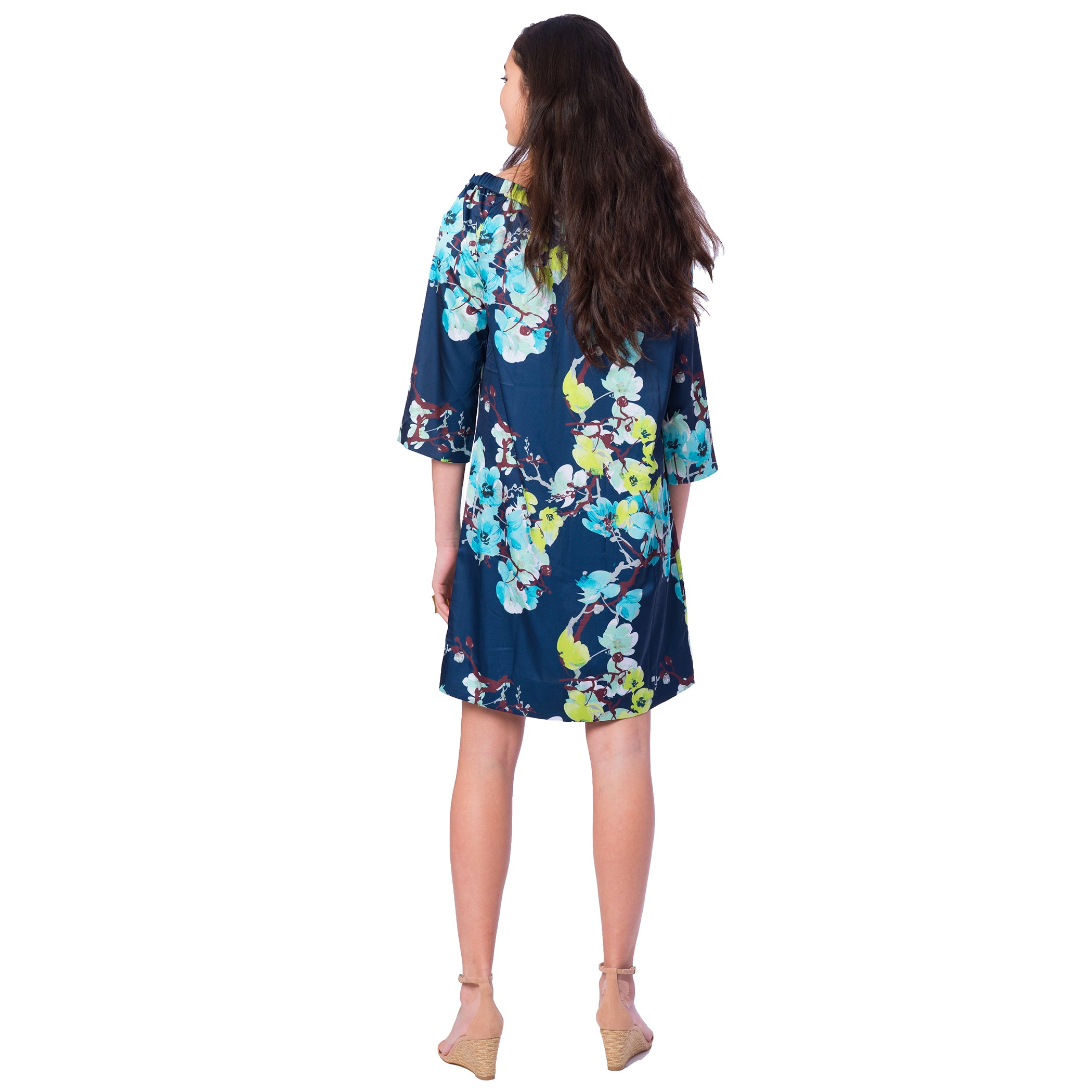 Bridget Dress Navy Branch Floral - Elizabeth Ackerman New York