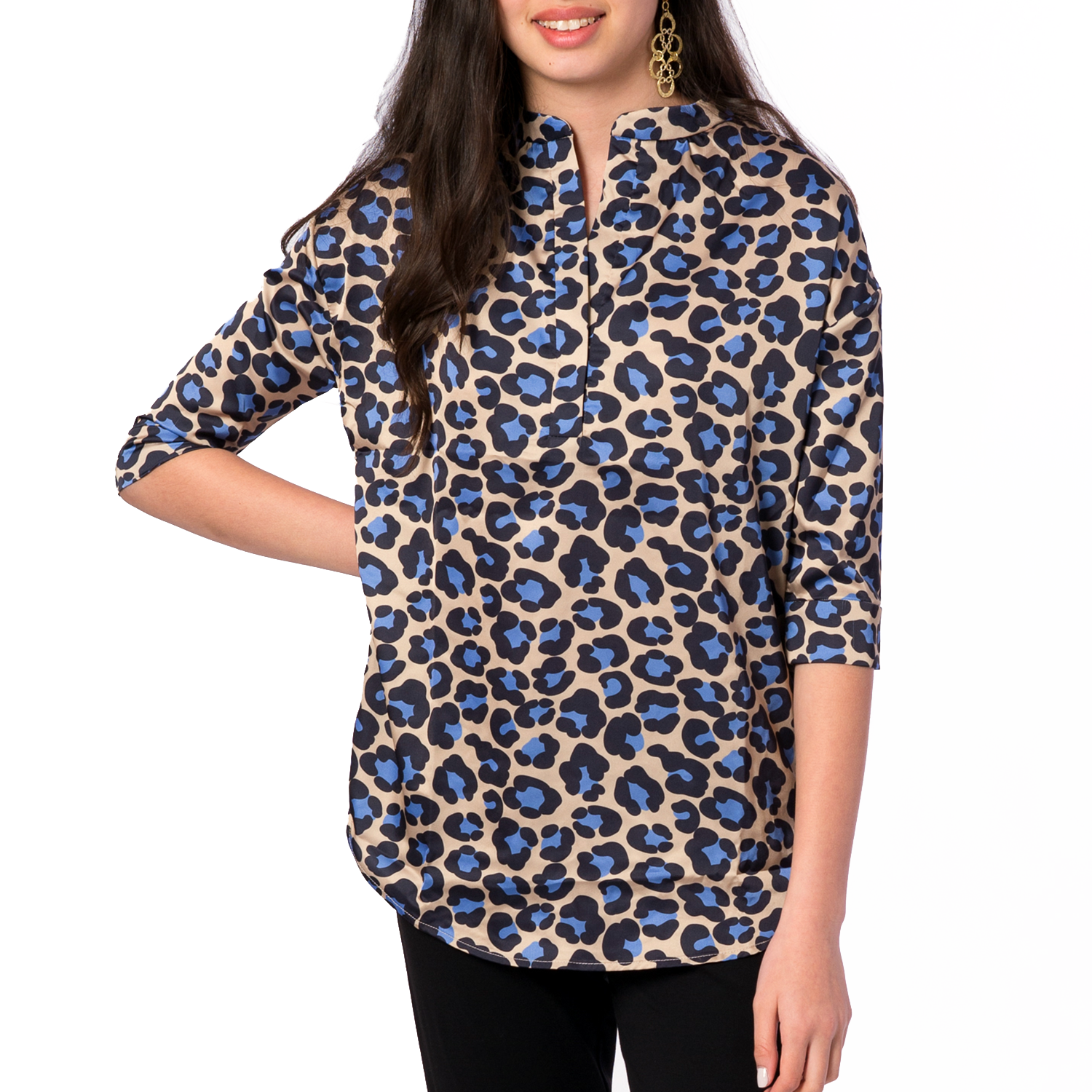 Heather Mandarin Collar Blouse in Tan Leopard - Elizabeth Ackerman New York