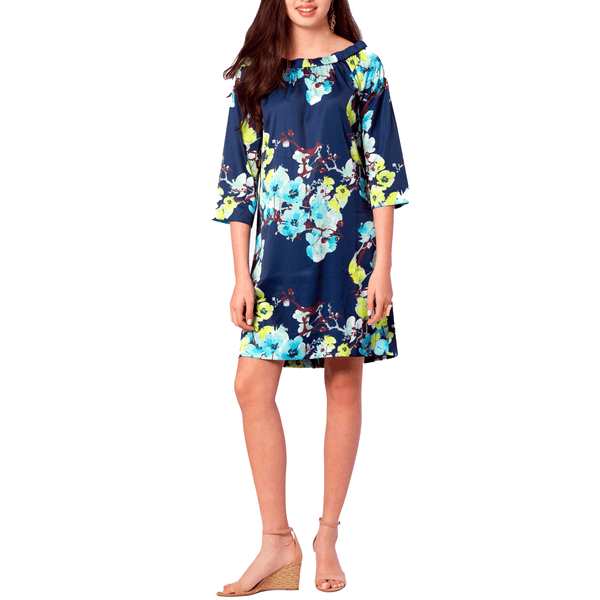 Jackie 3/4 Sleeve Dress in Navy Branch Floral