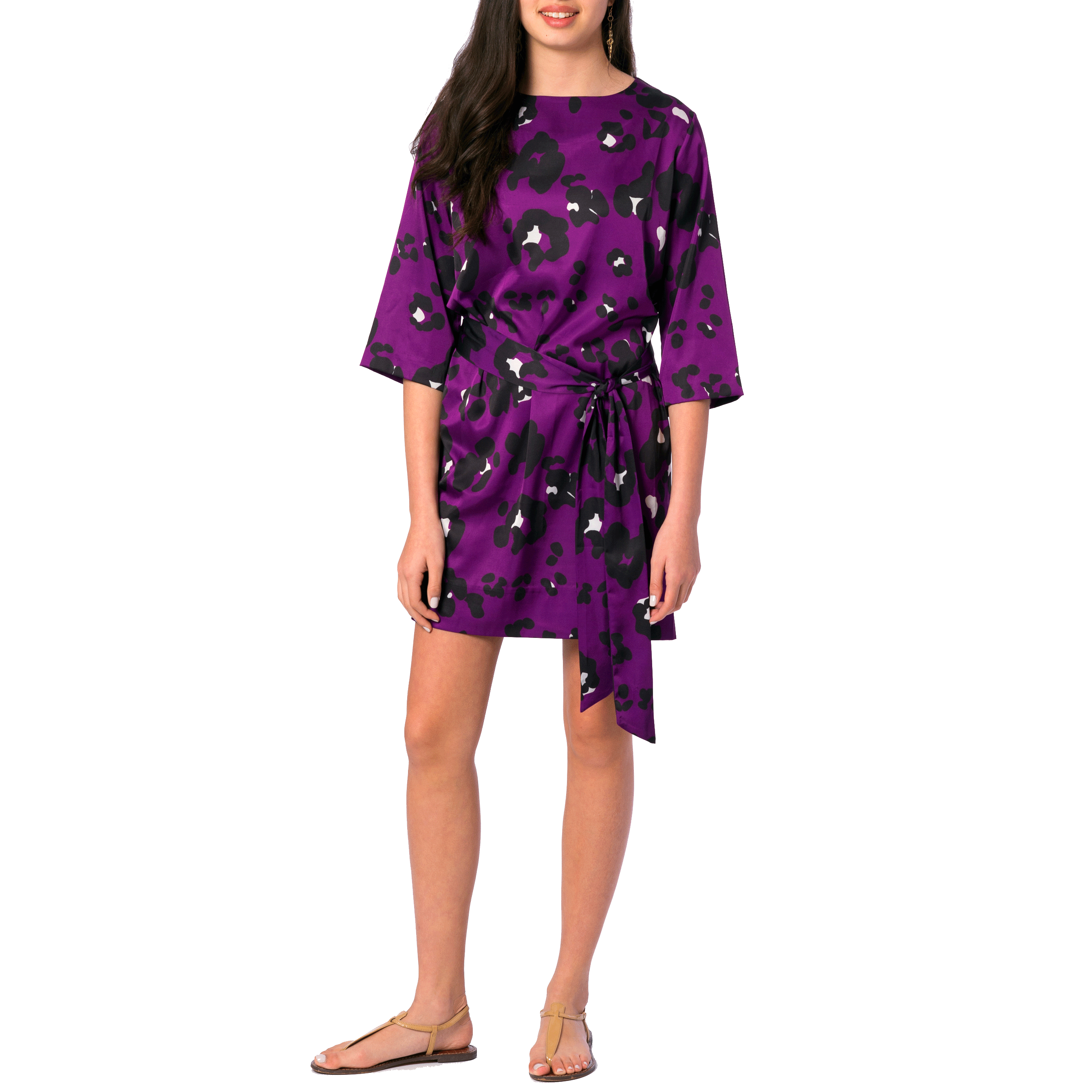 Jackie 3/4 Sleeve Dress in Purple Spot - Elizabeth Ackerman New York