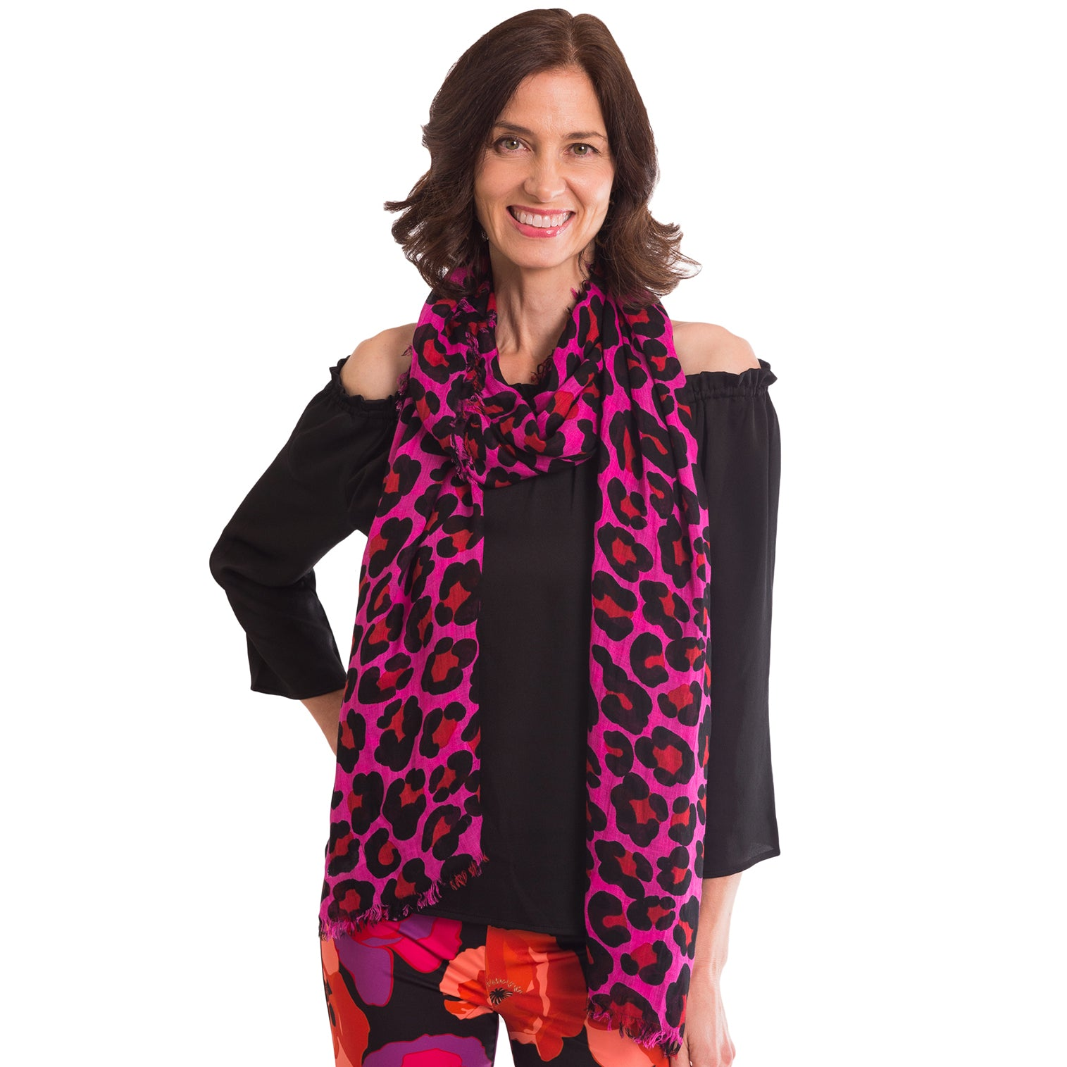 Hot Pink Leopard Print Scarf - Elizabeth Ackerman New York