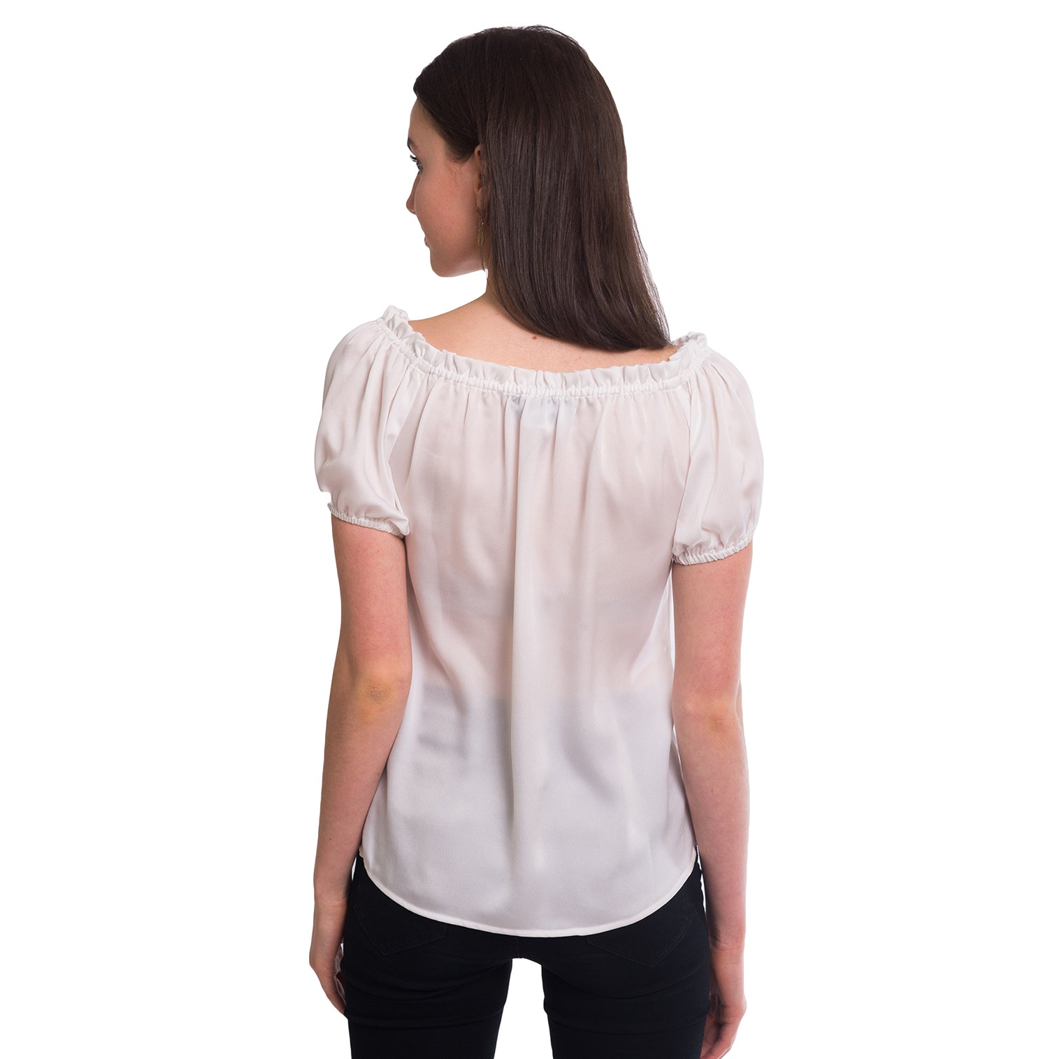 Sadie On/Off Shoulder Blouse in White - Elizabeth Ackerman New York