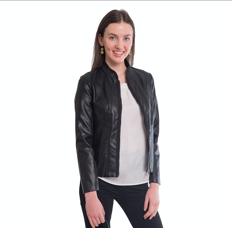 Mia faux leather mandarin collar jacket - Elizabeth Ackerman New York