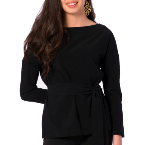 Suzanne Boat Neck Blouse in Black - Elizabeth Ackerman New York