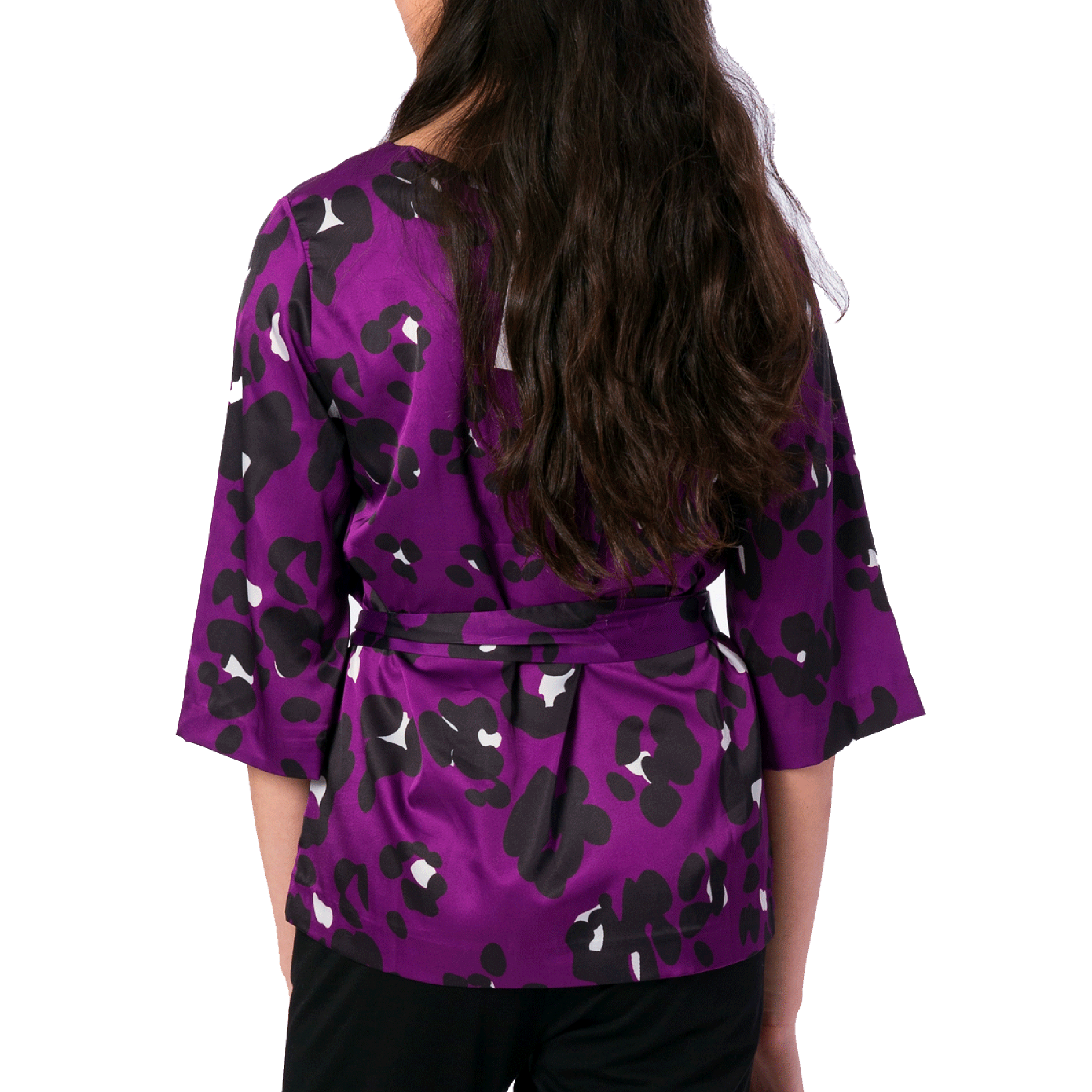 Jackie 3/4 Sleeve Blouse in Purple Spot - Elizabeth Ackerman New York