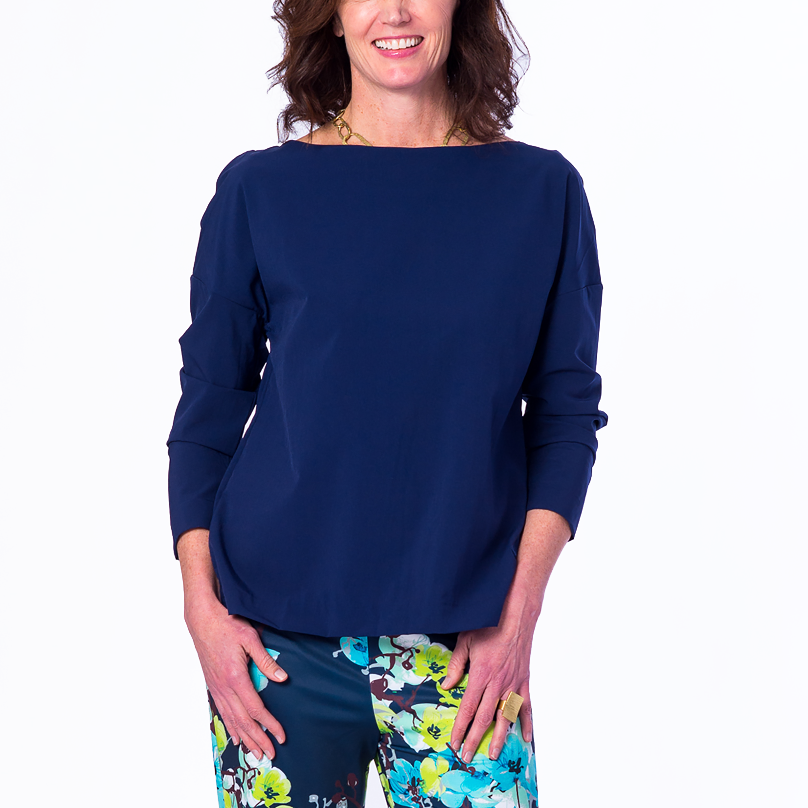 Suzanne Boat Neck Blouse in Solid Navy - Elizabeth Ackerman New York