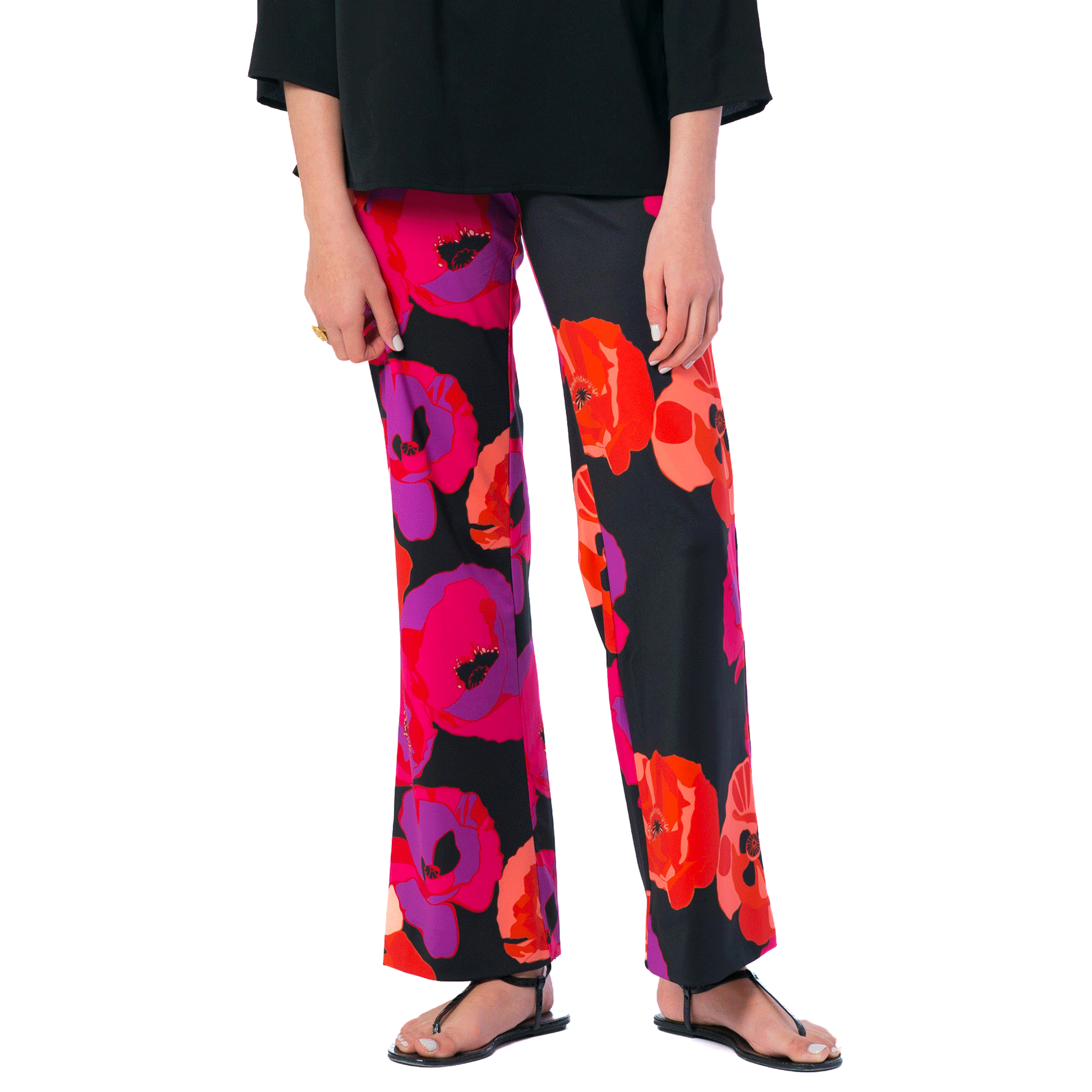 Toby Palazzo Pant in Black Poppy - Elizabeth Ackerman New York