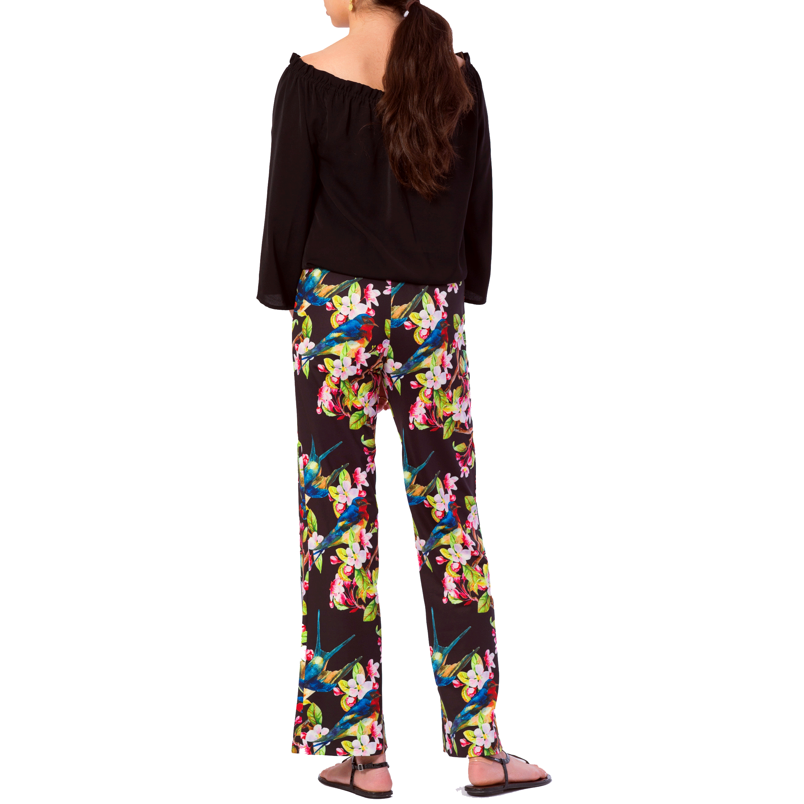 Toby Palazzo Pant in Bird Garden - Elizabeth Ackerman New York