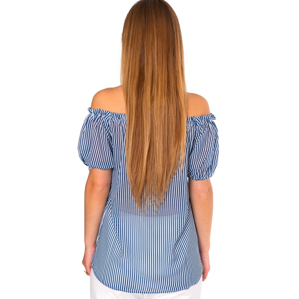 Sadie On Off Puff Sleeve Blouse in Skinny Blue Stripe - Elizabeth Ackerman New York