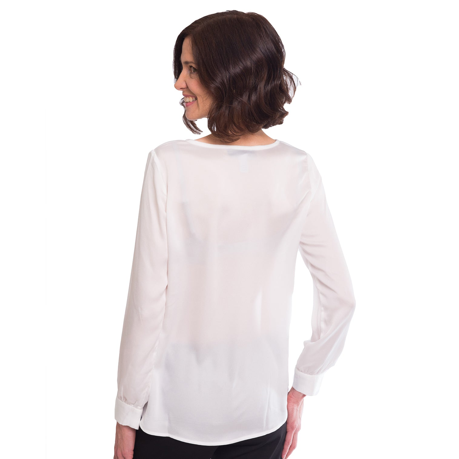Haynes V-Neck Long Sleeve Blouse in White - Elizabeth Ackerman New York