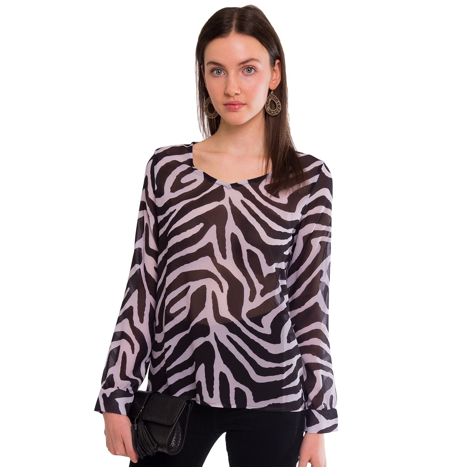 Haynes V-Neck Blouse in Lavender Zebra - Elizabeth Ackerman New York