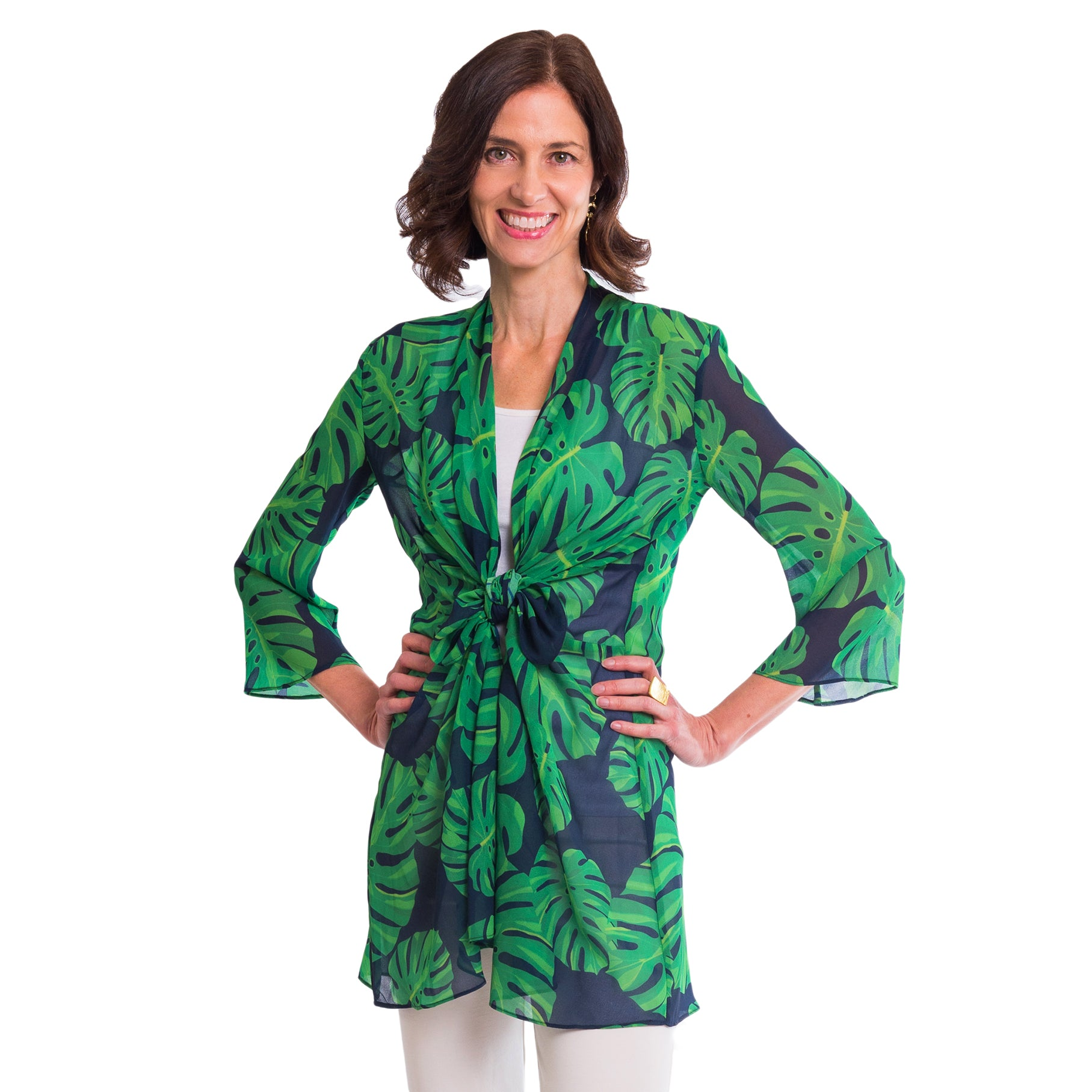 Nadia 3 way top in Navy Palm - Elizabeth Ackerman New York