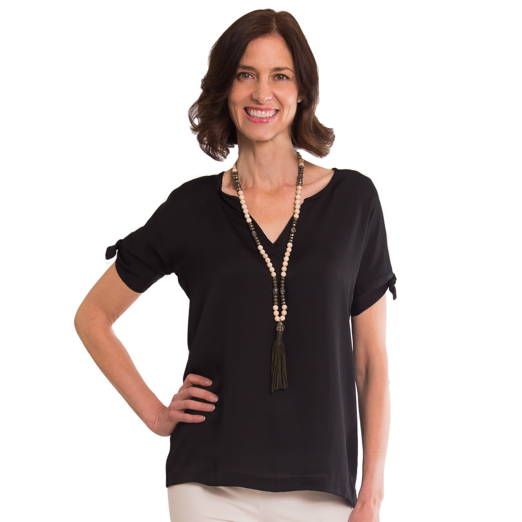 Natasha Tie Sleeve Blouse in Black - Elizabeth Ackerman New York