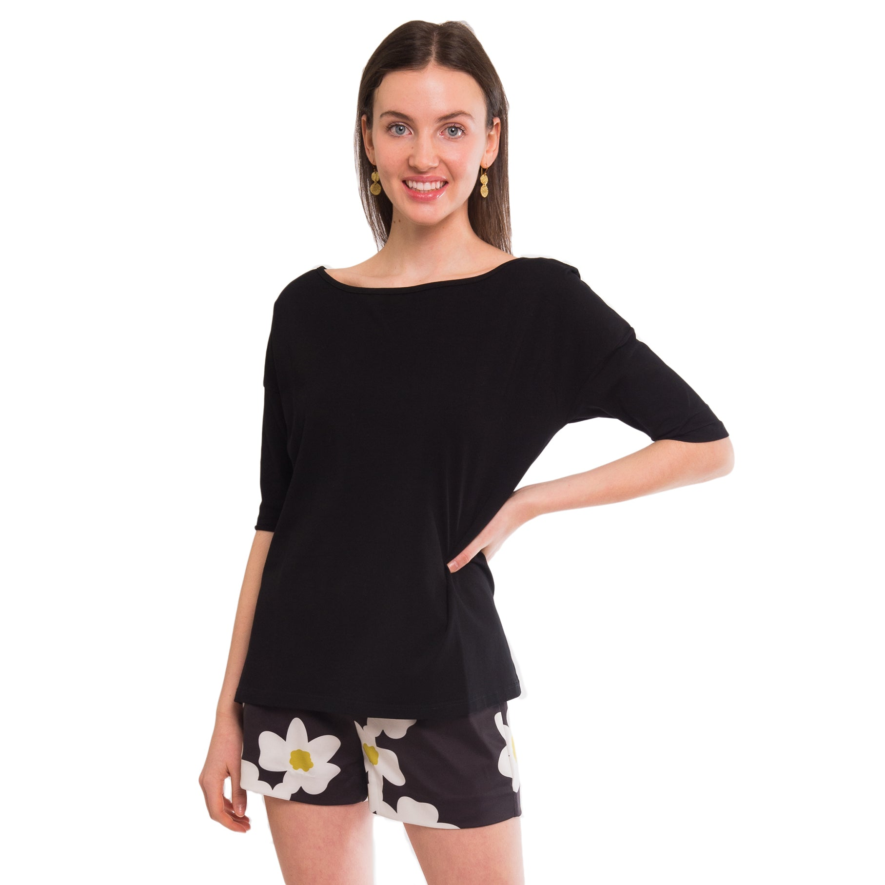 Suzanne Boatneck Tee in Black - Elizabeth Ackerman New York