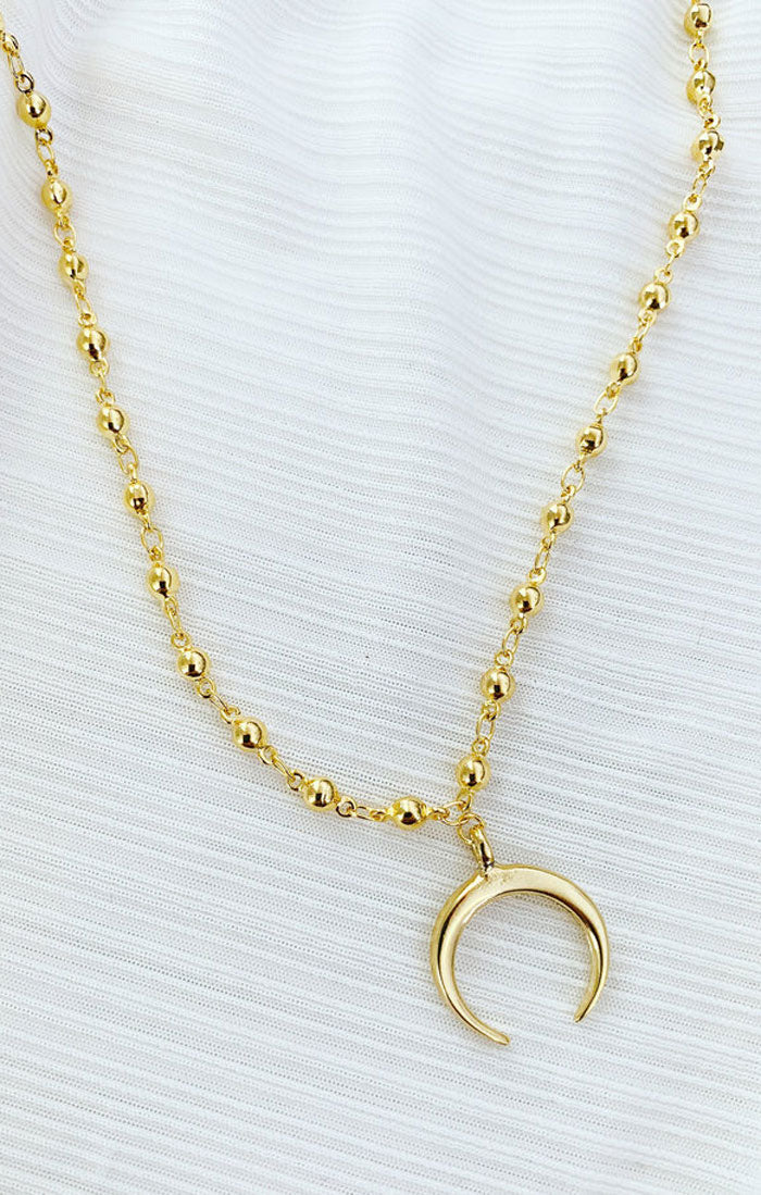 ALL GOLD CRESCENT NECKLACE