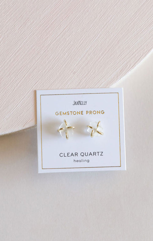 GEMSTONE STUDS - CLEAR QUARTZ