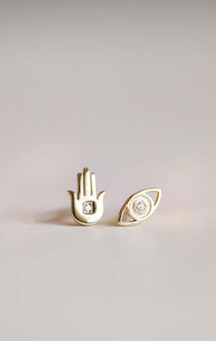 HAMSA HAND & EYE COMPLEMENT EARRINGS