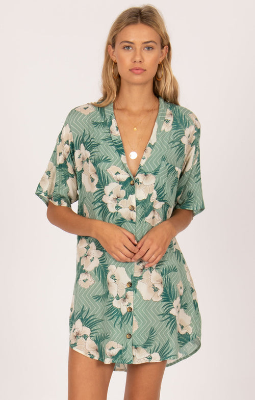 ISLAND OASIS SHORT SLEEVE BUTTON UP DRESS
