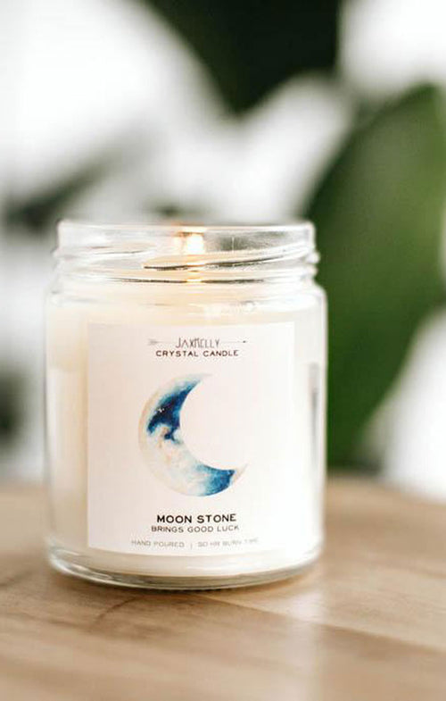 MOONSTONE CRYSTAL CANDLE- GOOD LUCK